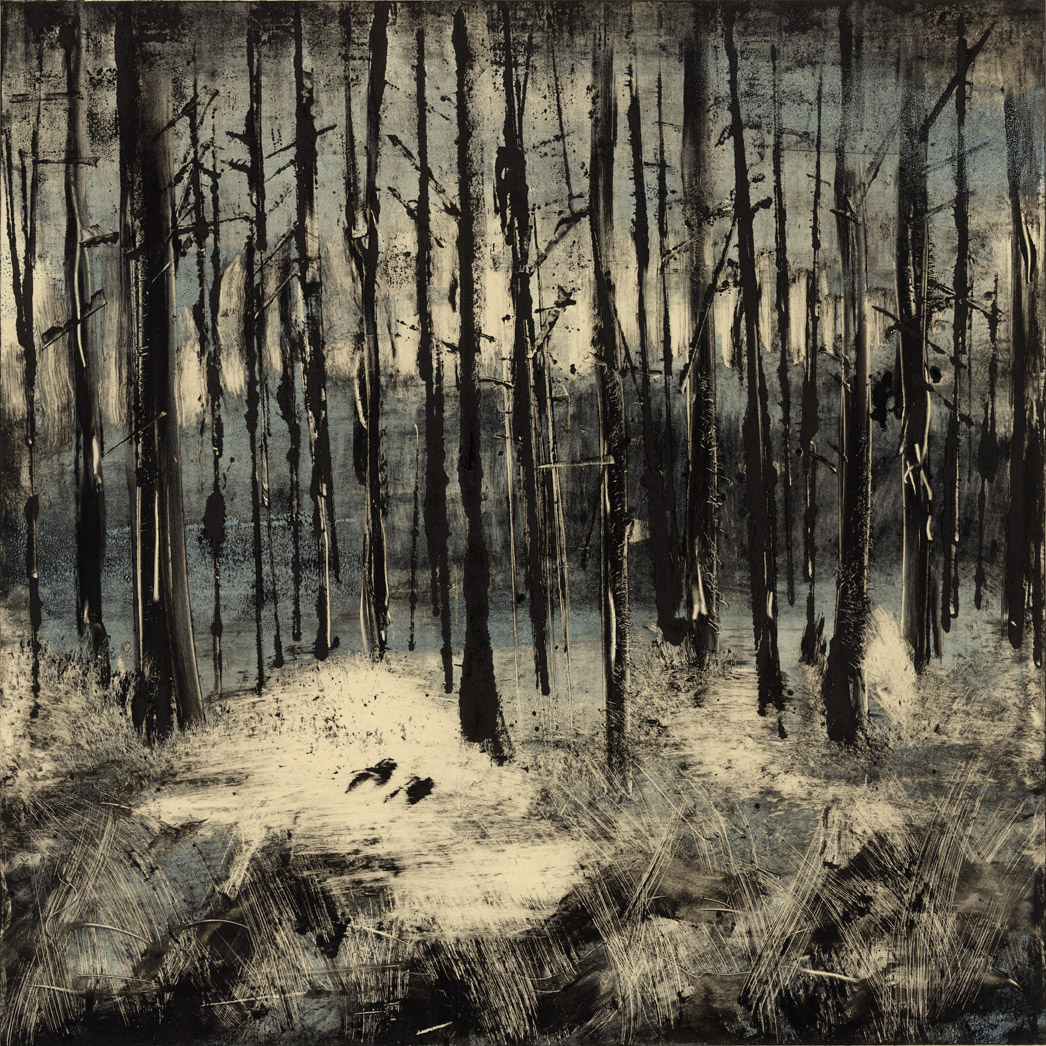 "Trees , monotype, 28"" x 28"" framed, sold"