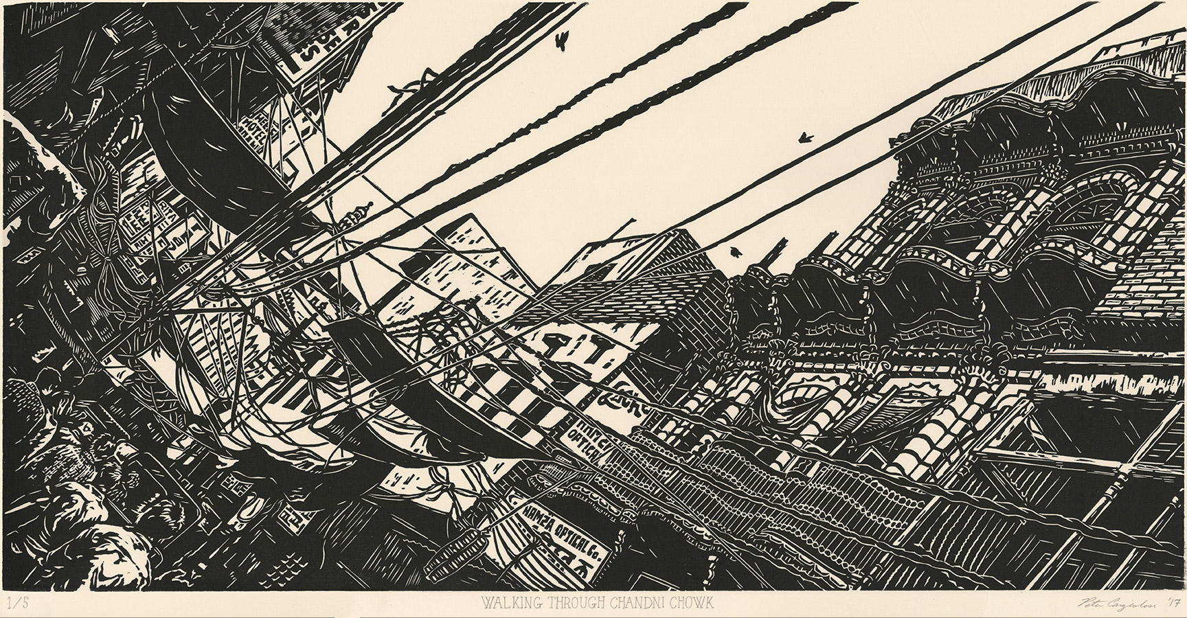 "Walking Through Chandni Chowk  V1 (2/3), woodcut print on paper, 20"" x 32"" framed, $850"