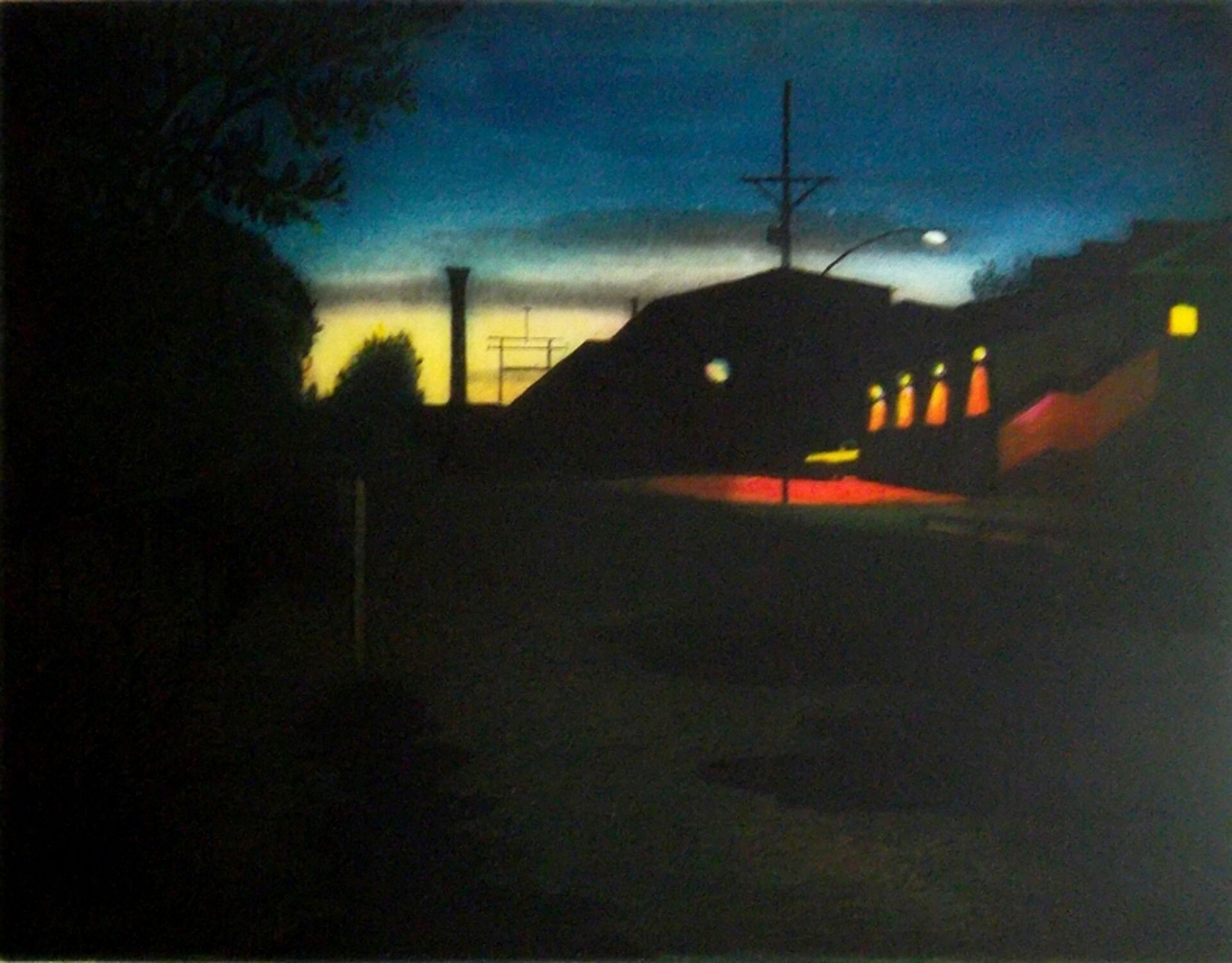 "Nocturne , multi-plate color etching, 16 3/4"" x 18 3/4"" framed, $400"