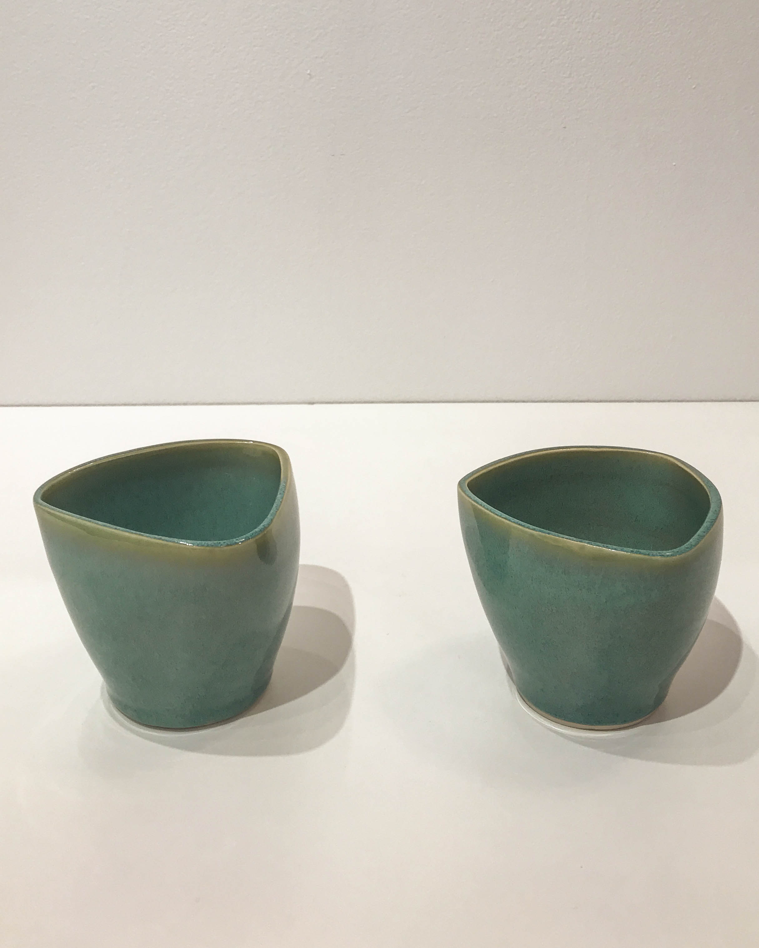 Jennifer Crowe , green triangular tumbler, hand-thrown stoneware, $28 each