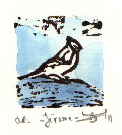 """Jérôme,  linocut and watercolor, 6¼"""" x 6¼"""" framed, $80"""