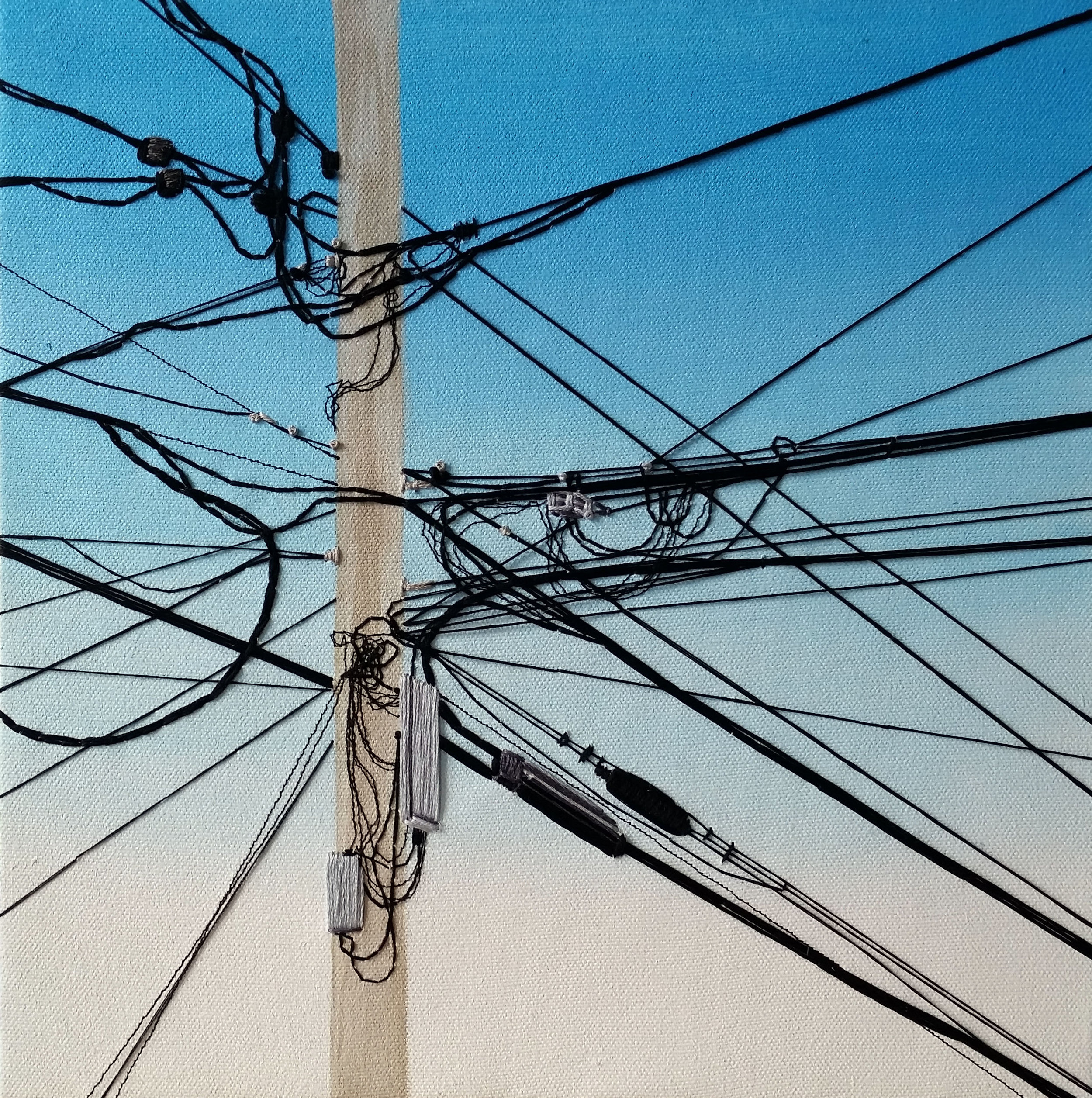 "Silent Transmission , acrylic, thread, and embroidery floss on canvas, 12"" x 12"", sold"