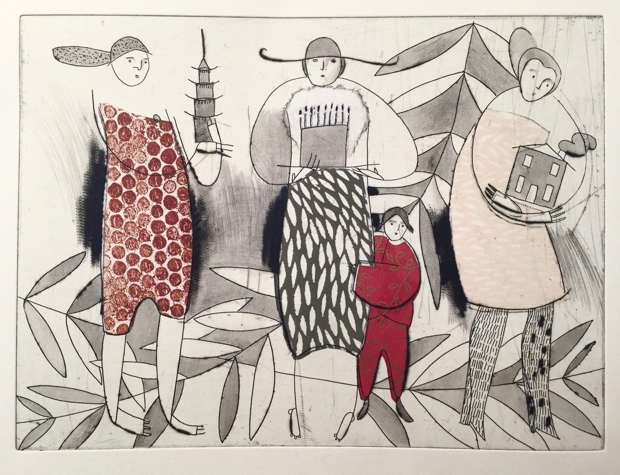 "Shengri , etching, dry point, chine-collé, 11"" x 15 1/2"", $300"