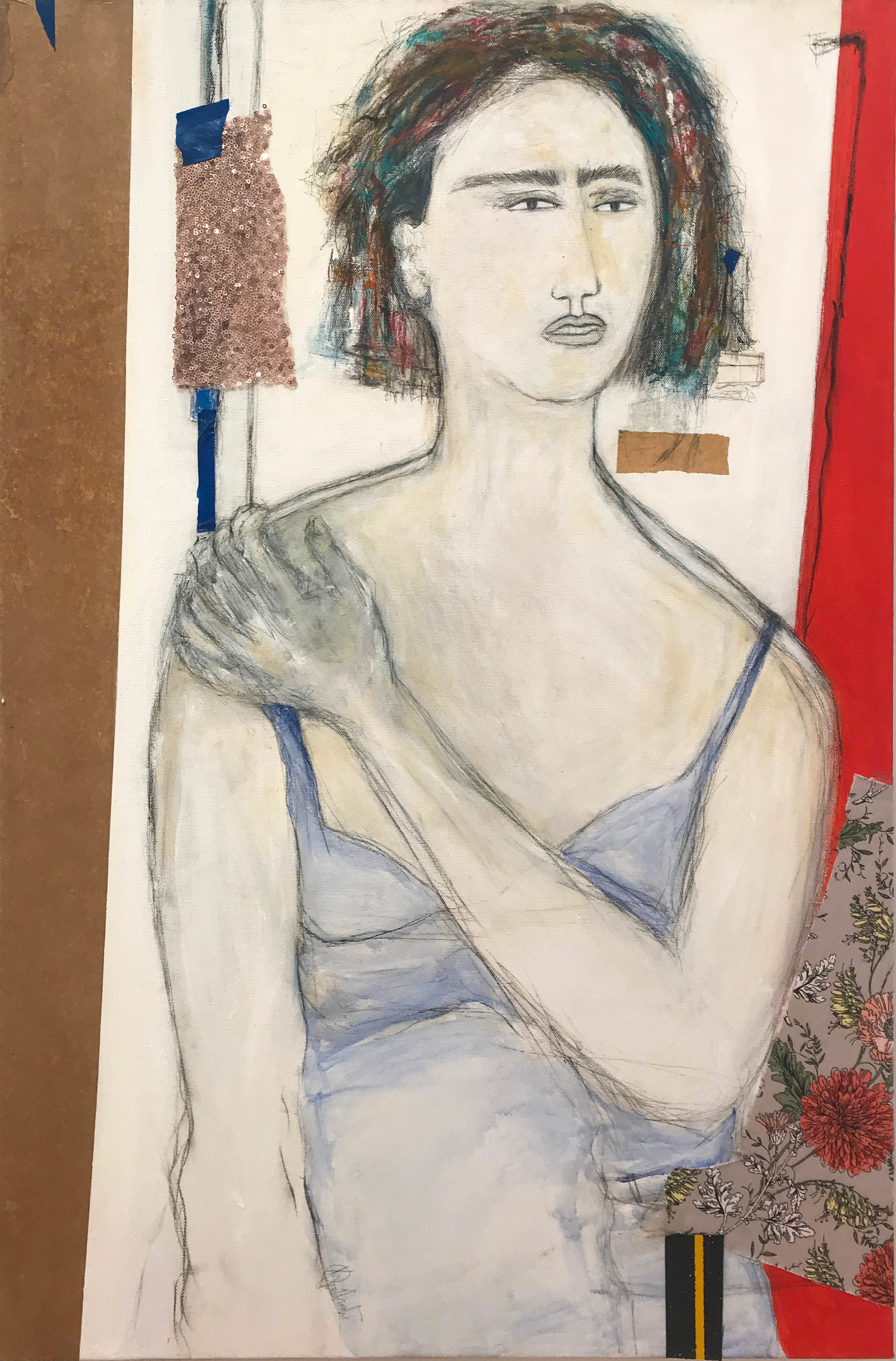 "Karla Quattrocchi ,  At the Window ,   oil, acrylic, crayon, tar, pastel, rice paper, paper, tape, fabric, sequins on canvas,  36"" x 24"", $1,800"