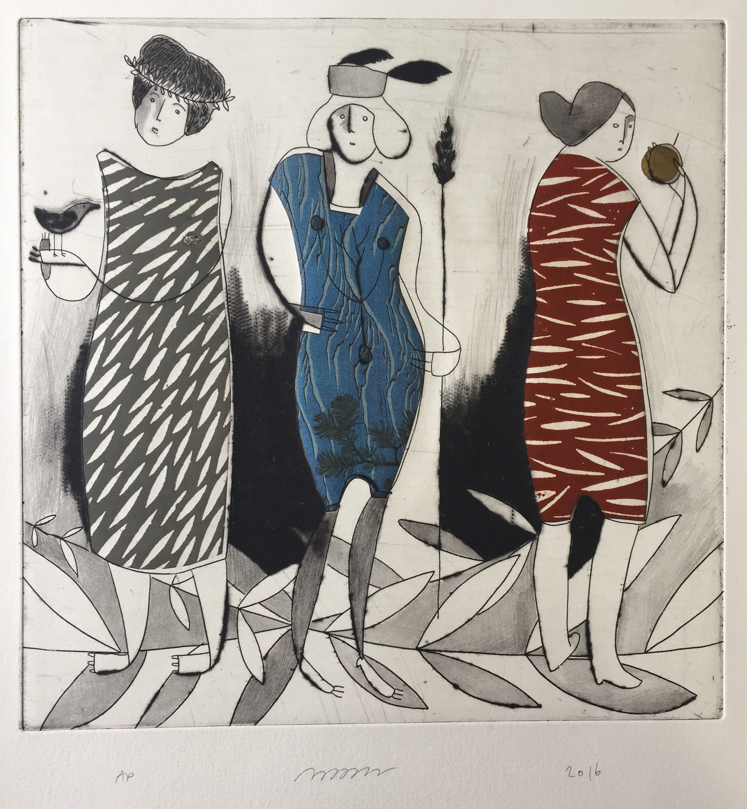 Nancy Popper , Maid of Orléans, etching, drypoint, and chine-collé