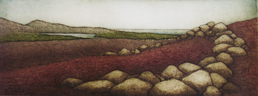 """East to the Bay, collagraph on paper, 12"""" x 22"""", $325"""