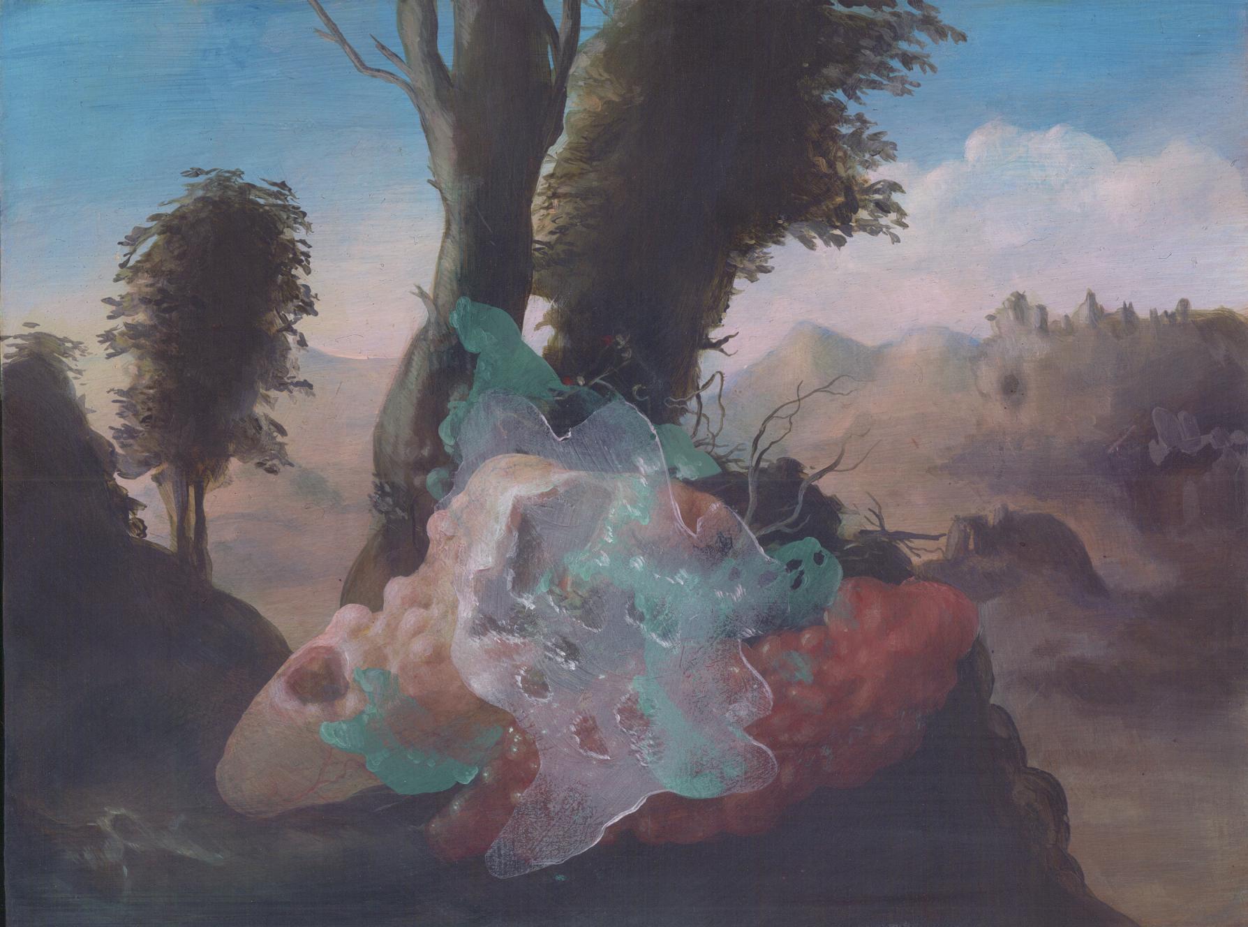 """Bucolic Landscape , acrylic on panel, 9"""" x 12"""", $850"""
