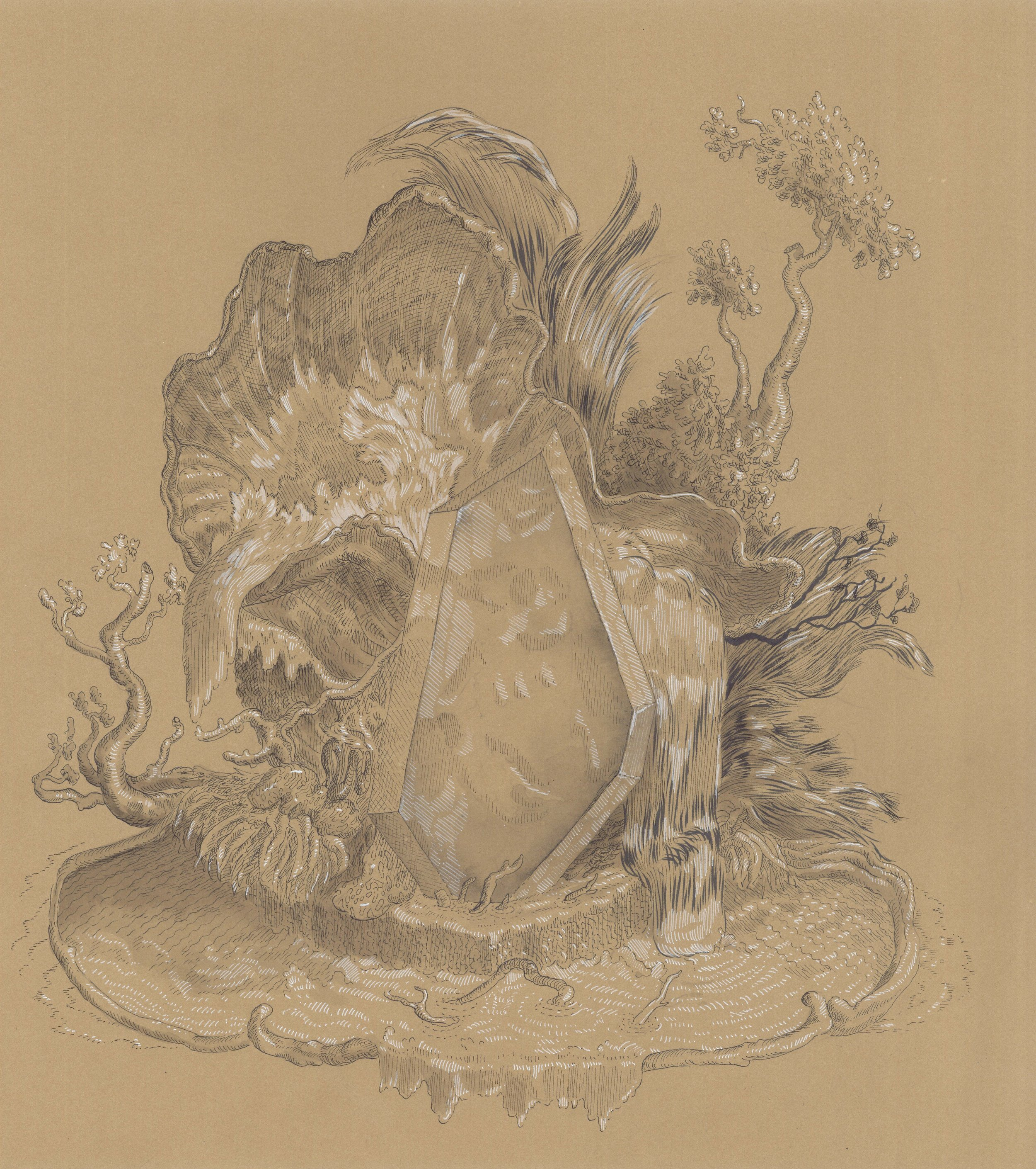 "Cartouche as Plexi Hunk in a Fountain , ink on paper, 17 1/2"" x 16 1/2"" framed, $750"