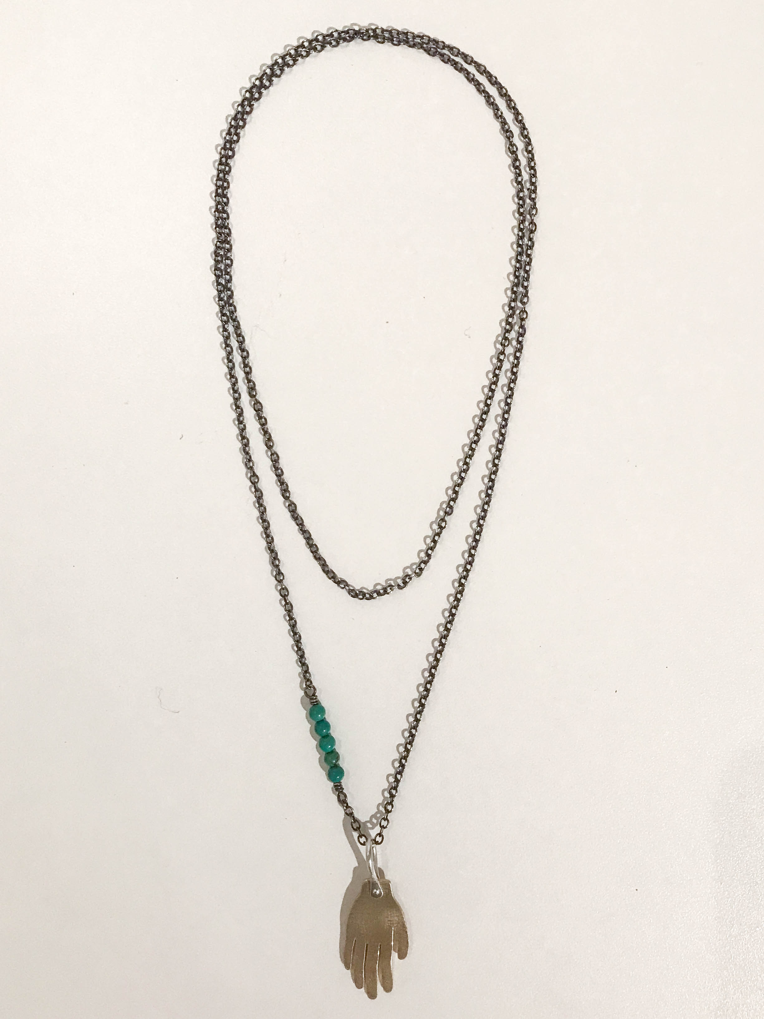 The Giver  necklace, oxidized sterling silver, brass, turquoise beads, sold