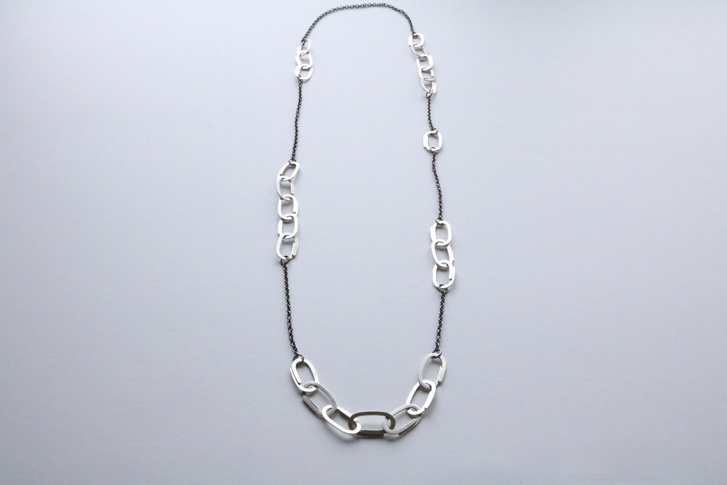 Silver interval clip link necklace, oxidized sterling silver, $320