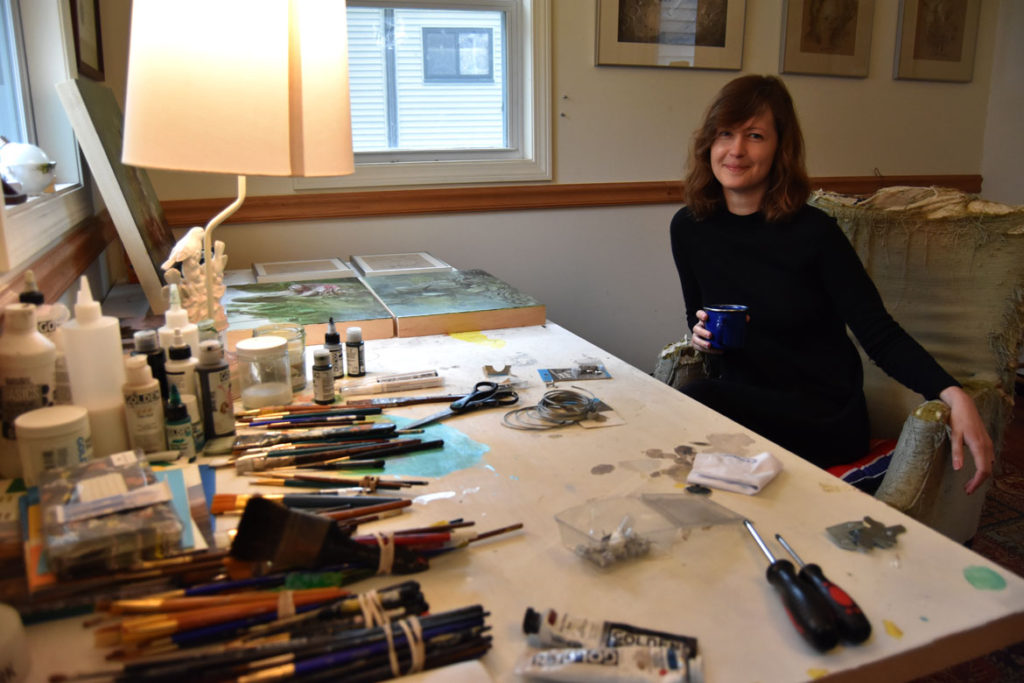 Nicole   Duennebier  in her studio in Malden, May 12, 2018. (Greg Cook)