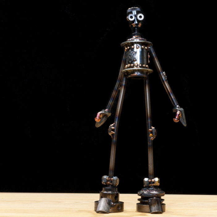 """Ernest #c340 , Castillo-class astrobot, re-purposed bicycle parts, threaded rod, gear housing machine part, carriage bolt, nuts, washers, rivets, copper, bronze, 15"""" x 7"""" x 3"""", $450"""