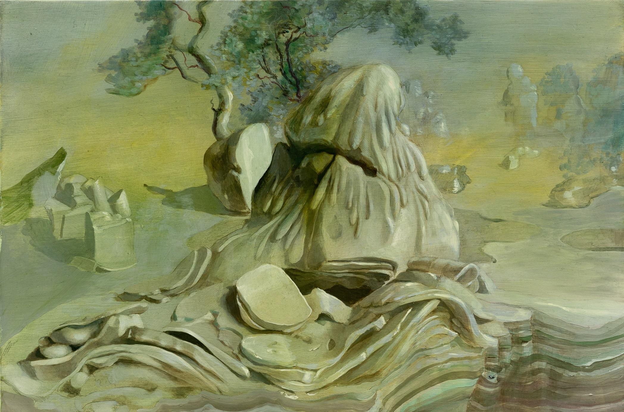 """Folded Landscape at Dusk , acrylic on panel, 12"""" x 18"""", $1,200"""