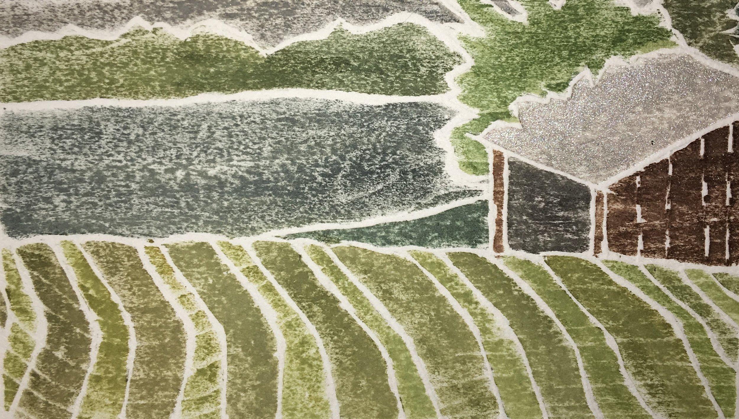 "Loch Lomond , white line woodcut monoprint,  8"" x 10"", $95"
