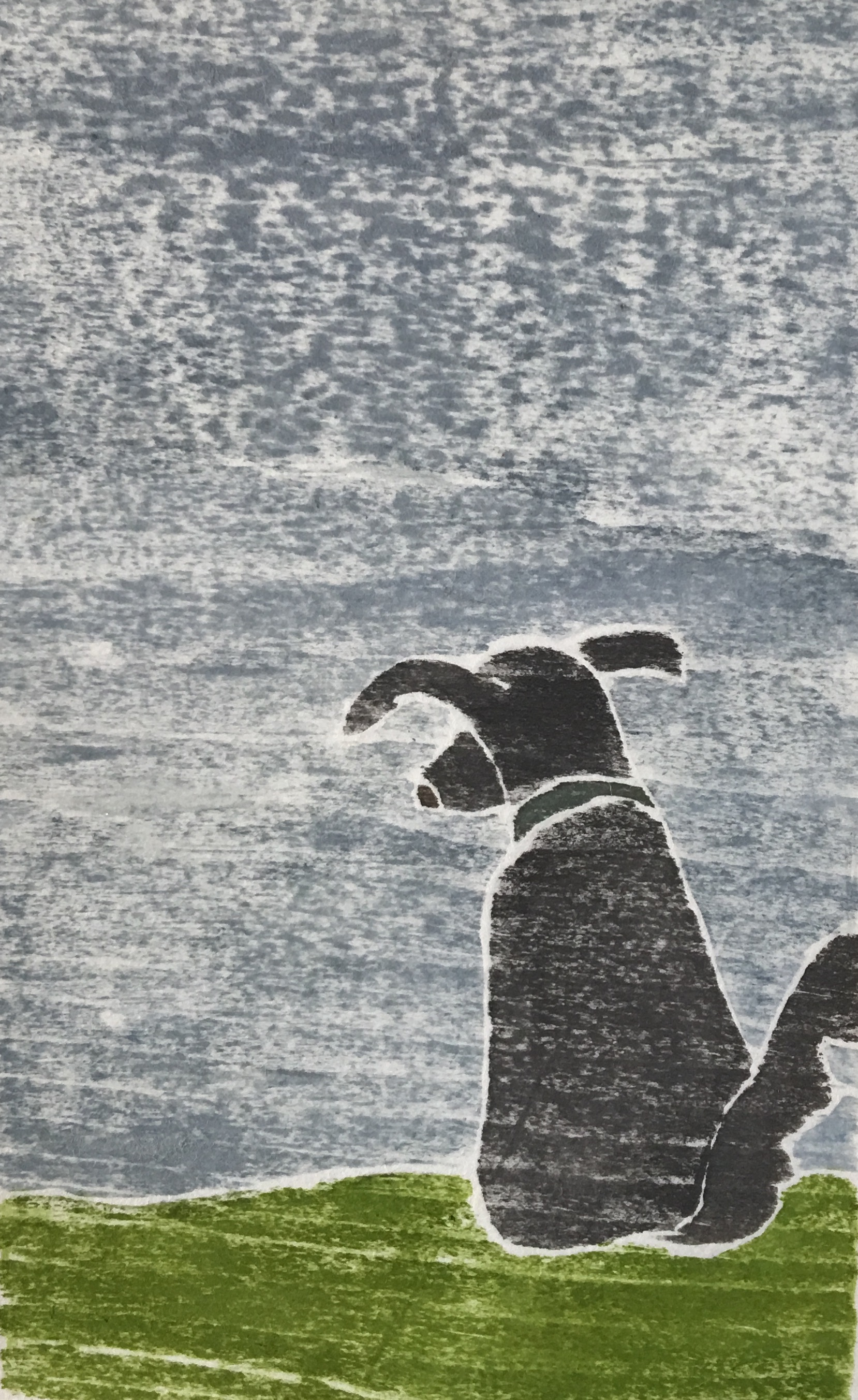 "Waiting , white line woodcut monoprint, 10"" x 8"", $95"