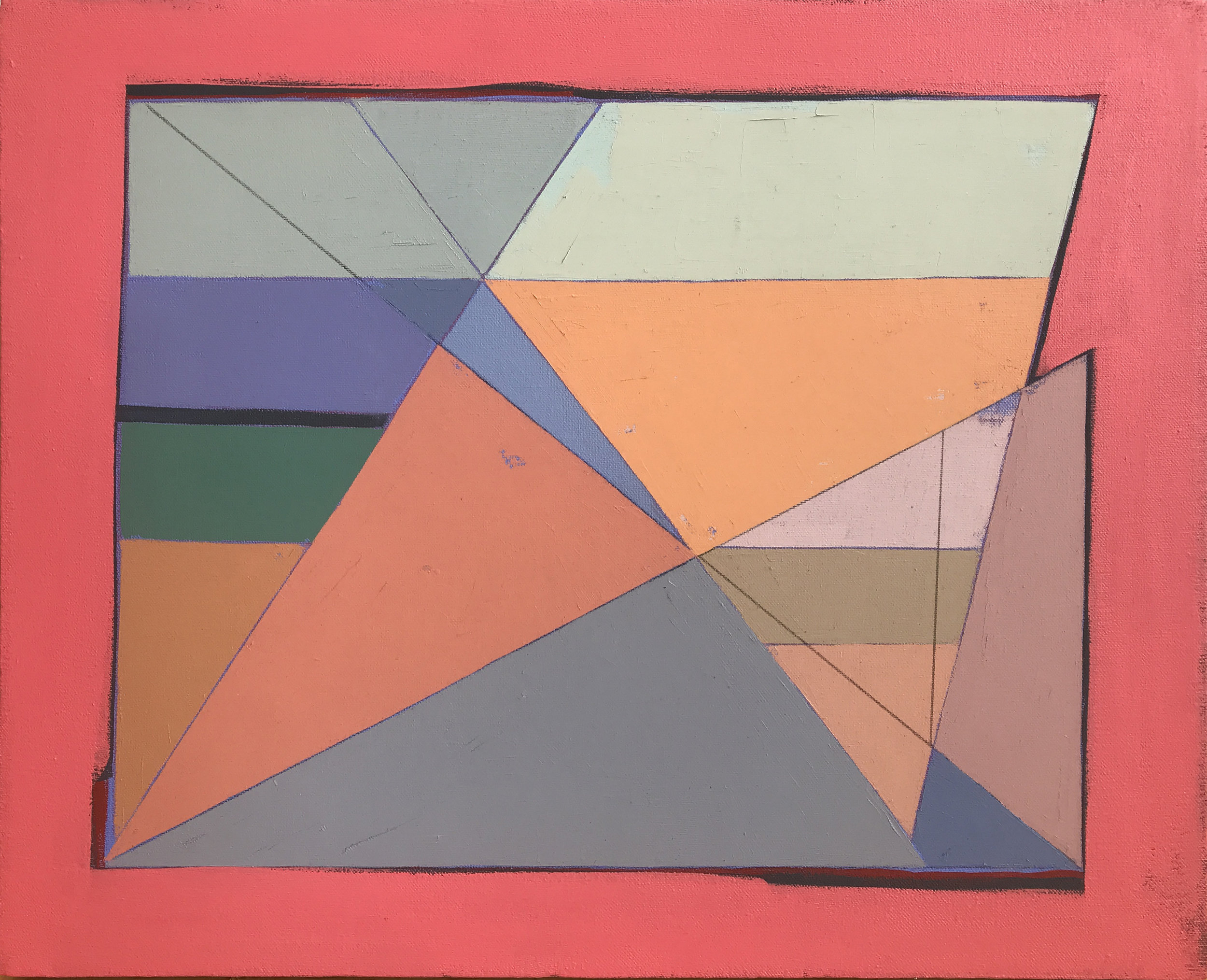 "Palette Scrap Color Study , oil, acrylic, colored pencil on canvas, 16"" x 20"", $450"