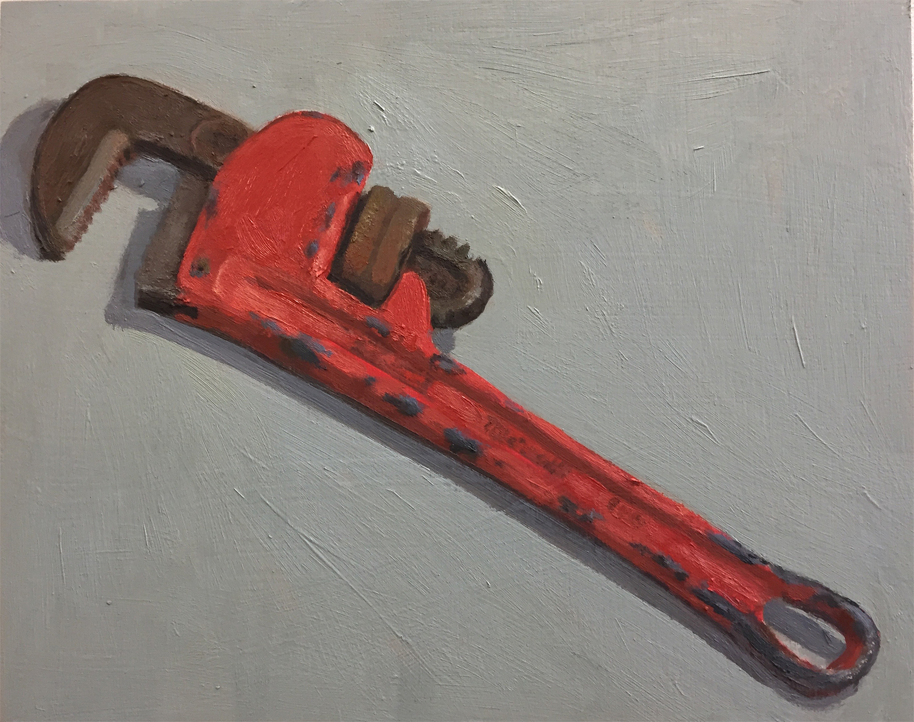 "Pipe Wrench , oil on panel, 8"" x 10"""