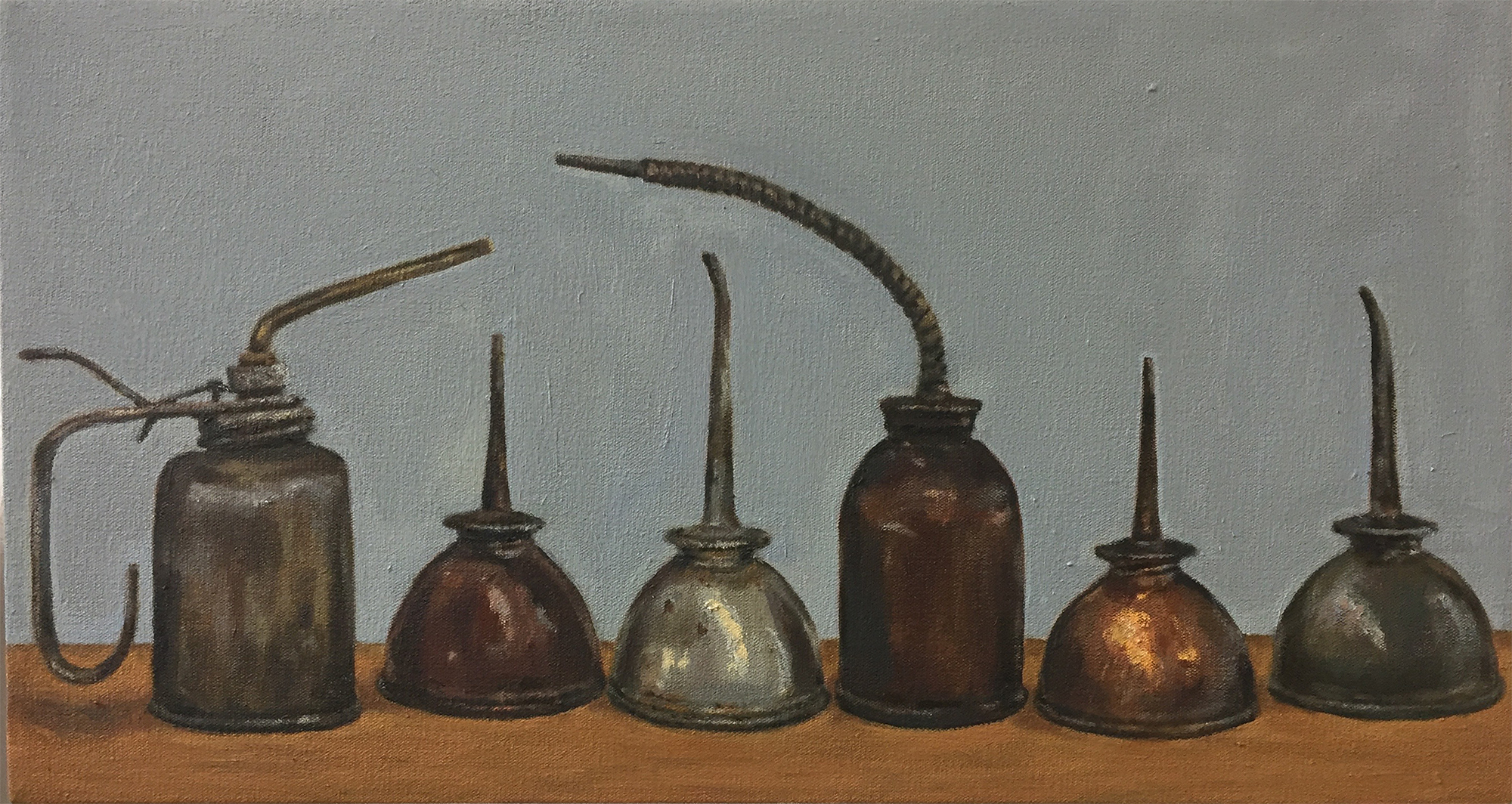 "Six Old Oil Cans , oil on canvas, 12"" x 22"", $925"