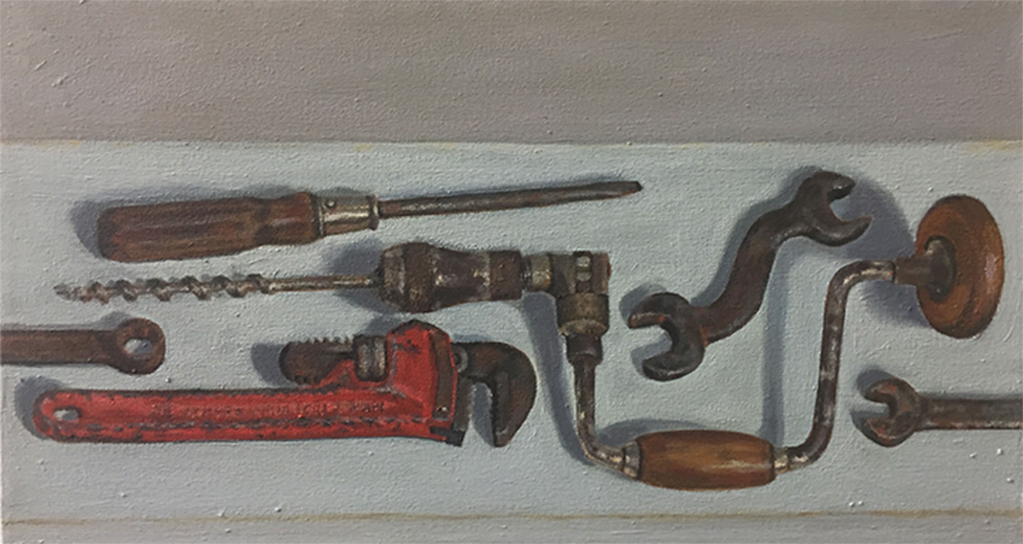 "Six Old Tools , oil on canvas, 12"" x 22"", $925"