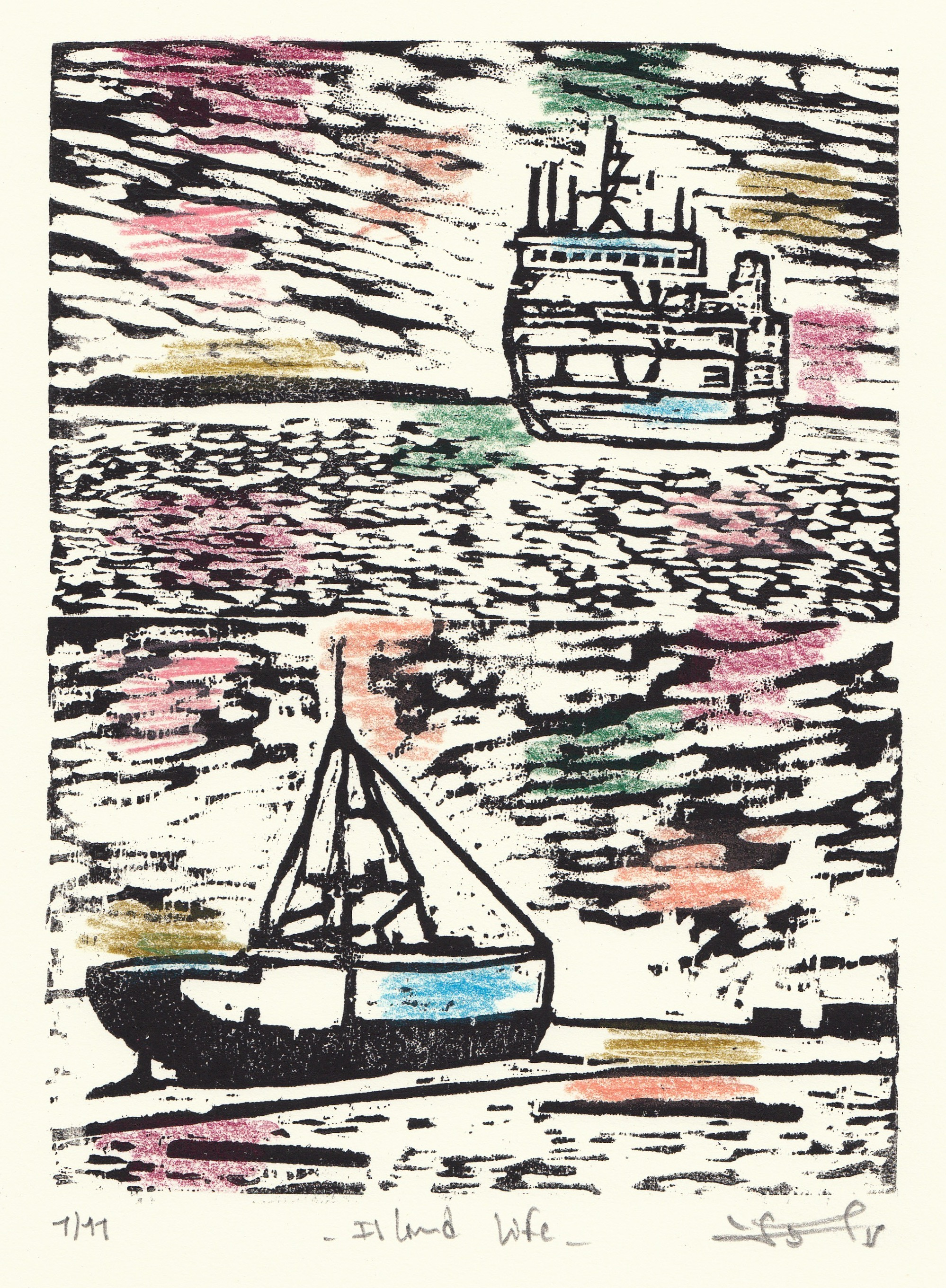 """Island Life  (1/11), woodcut and colored pencil, 13 1/4"""" x 10 1/4"""" framed, $200"""