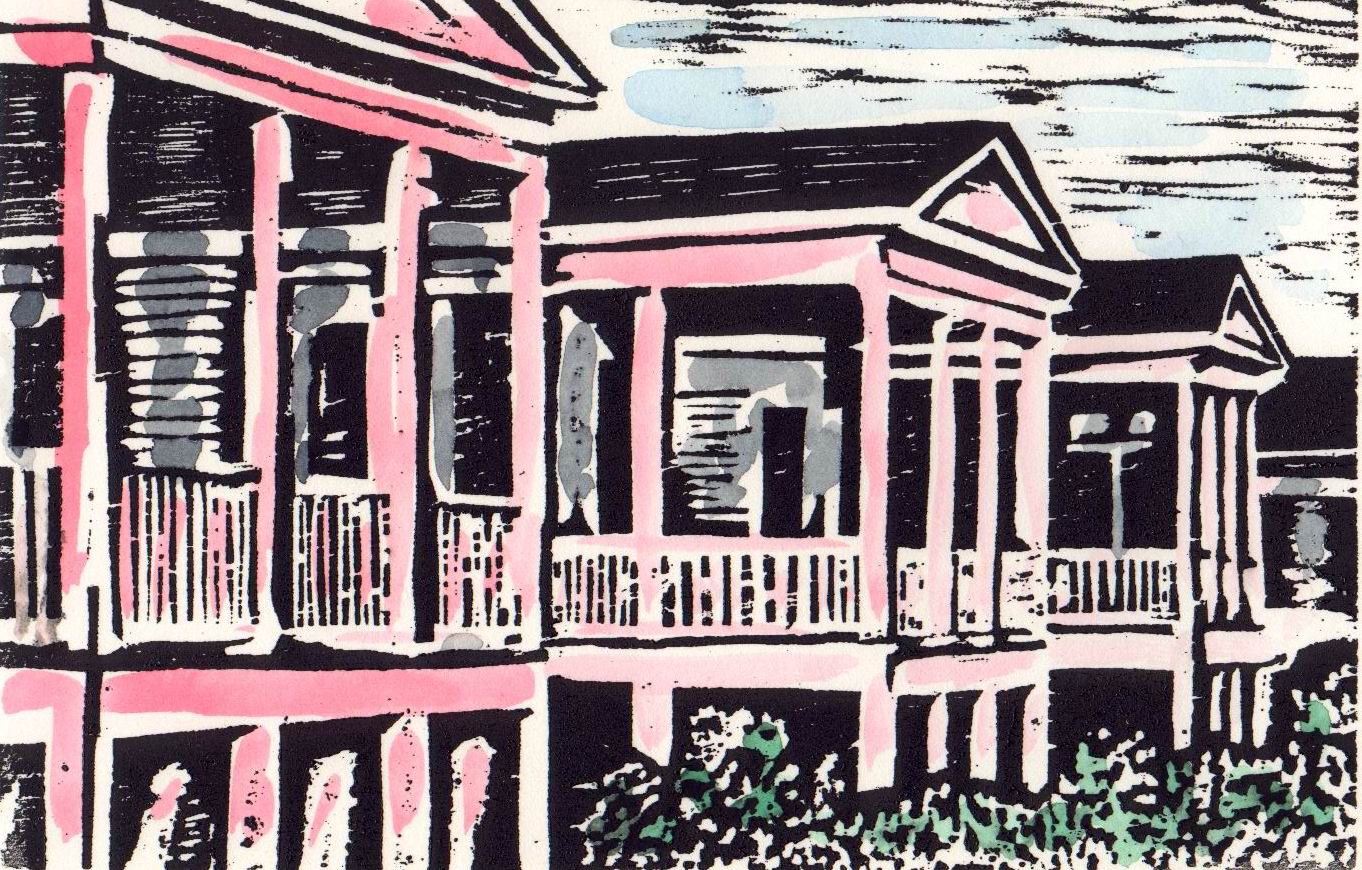 """Seafront  (EE), woodcut and watercolor, 10"""" x 12 3/4"""" sheet size, $120"""