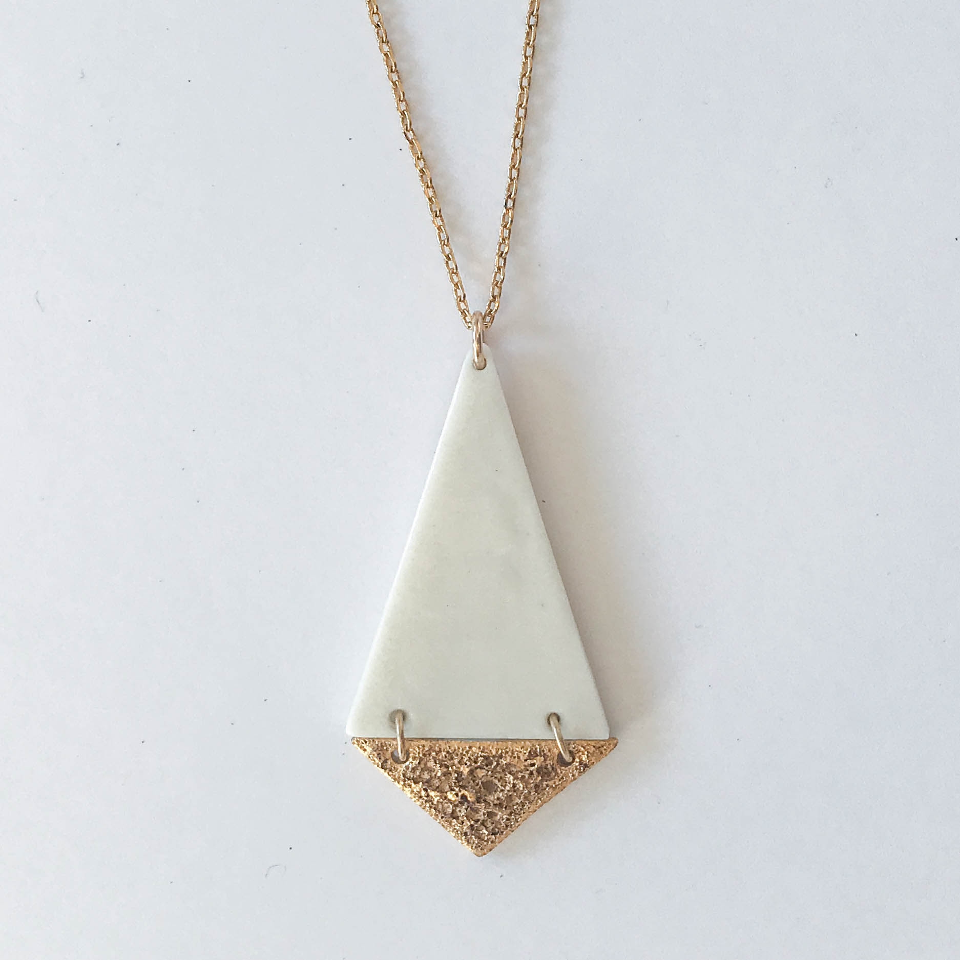 Two-tiered hinged necklace, white porcelain over gold froth, 14K gold filled chain, $110