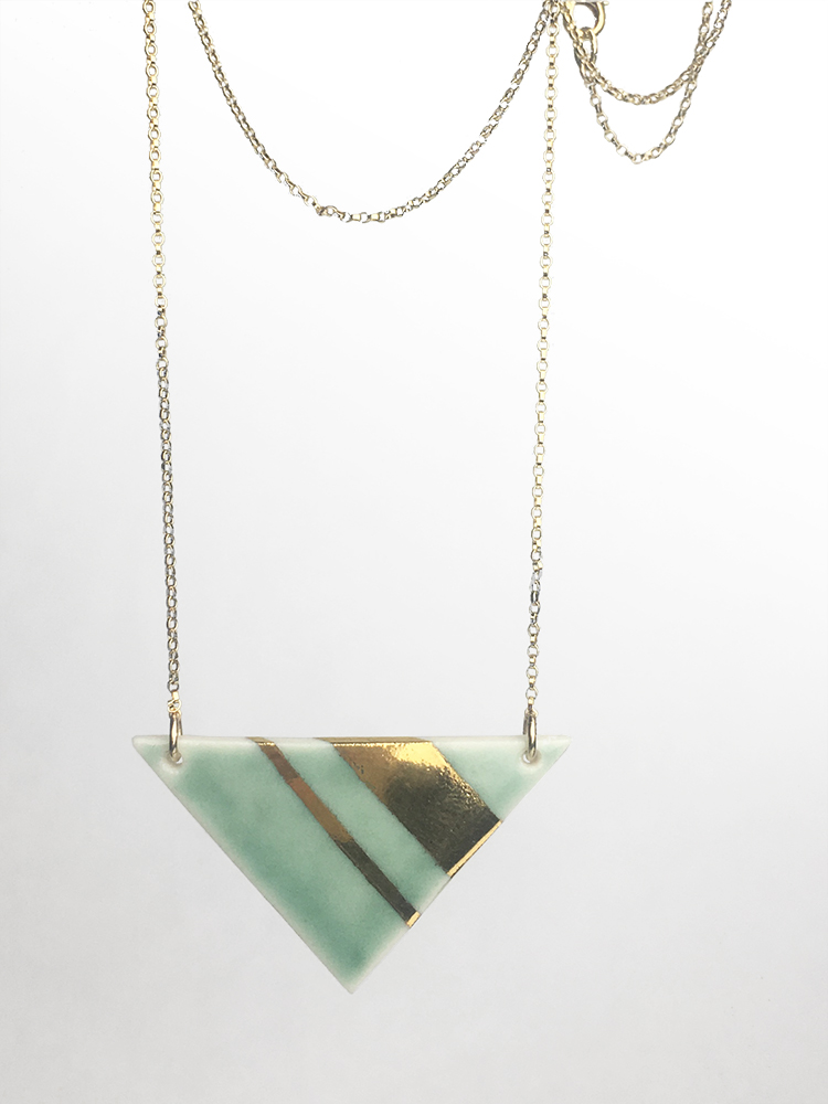 Celadon wide triangle necklace, porcelain with celadon glaze and gold luster stripes, 14K gold filled chain, $85