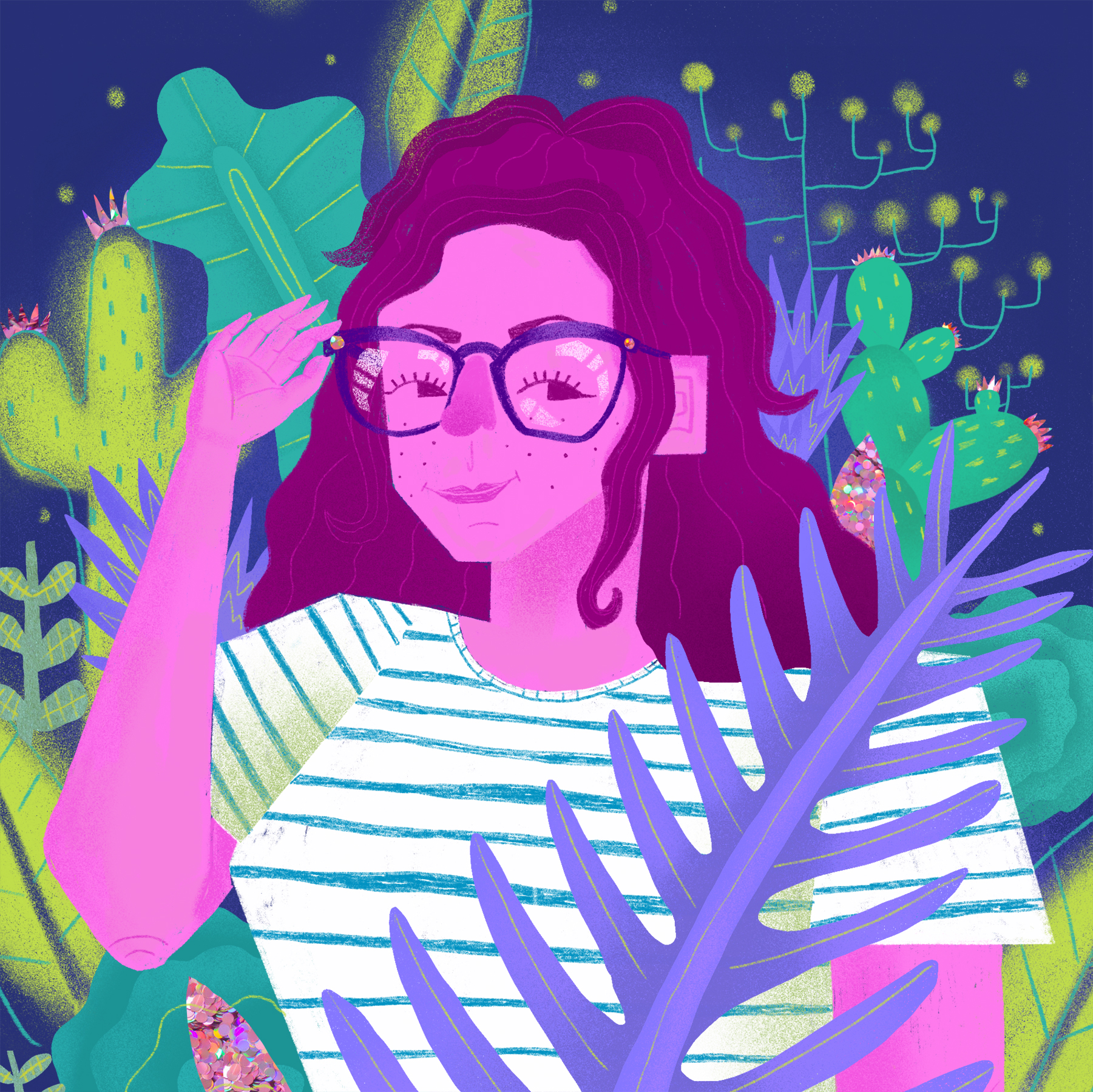Self Portrait in Alien Botany , digital print with acrylic and colored pencil, mounted on wood