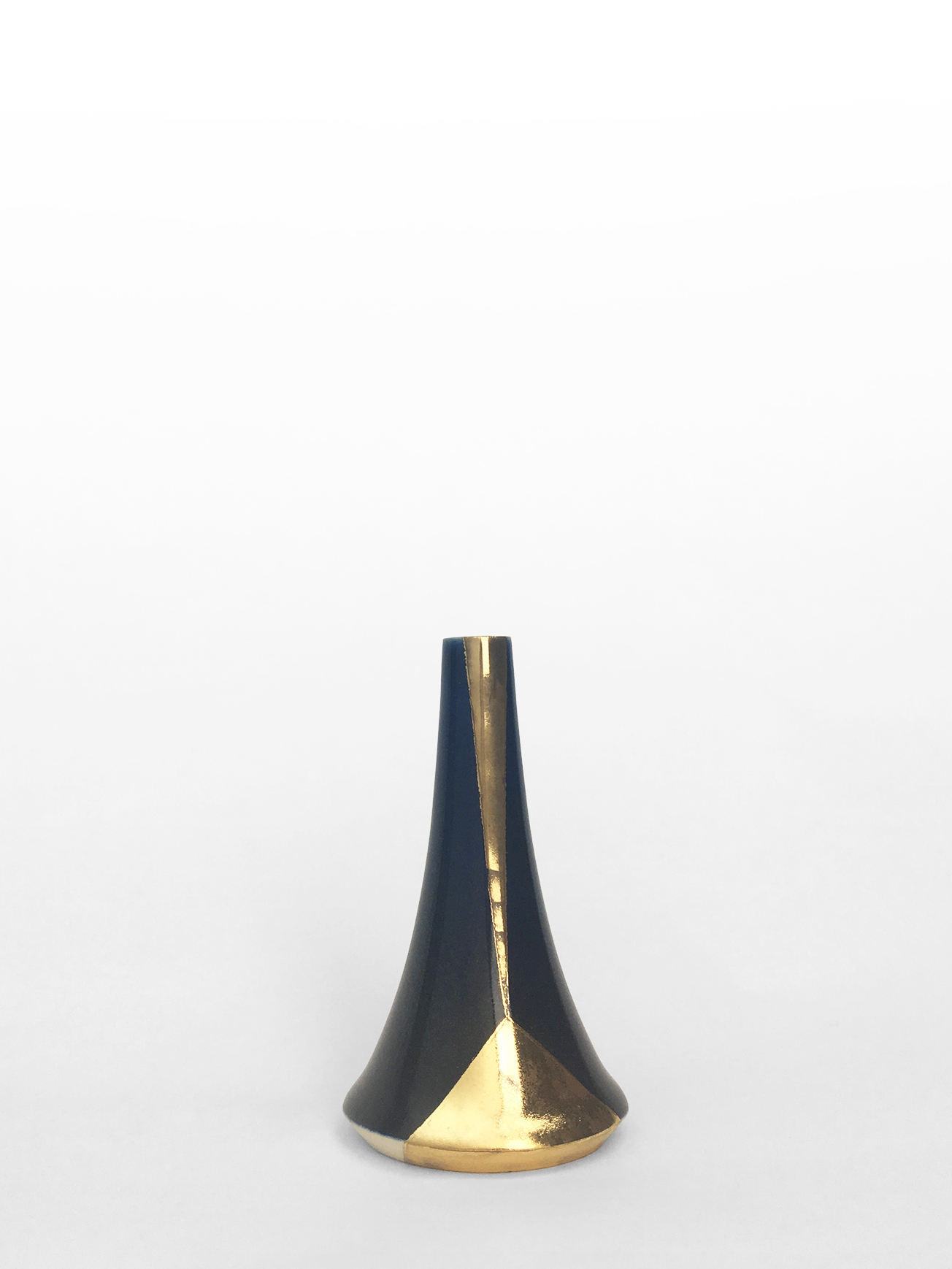 """Small volcano vase, hand-thrown porcelain with midnight blue glaze and gold luster geometric design, 4 1/4"""" x 2 1/2"""", $150"""