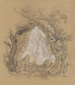 Nicole Duennebier, Cartouche with Rock Formation , ink on paper