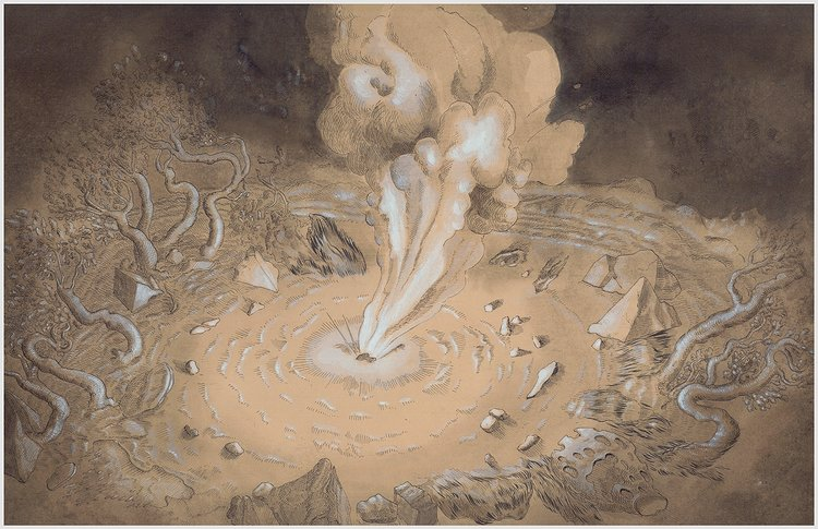 Nicole Duennebier, Cartouche as Blast Site , ink on paper