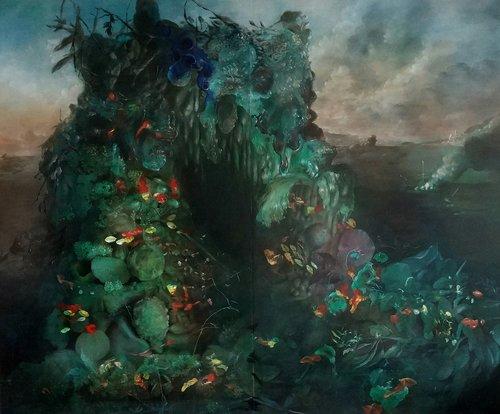 Nicole Duennebier, Still Life with Nasturtium and Brush Fire , acrylic on panel