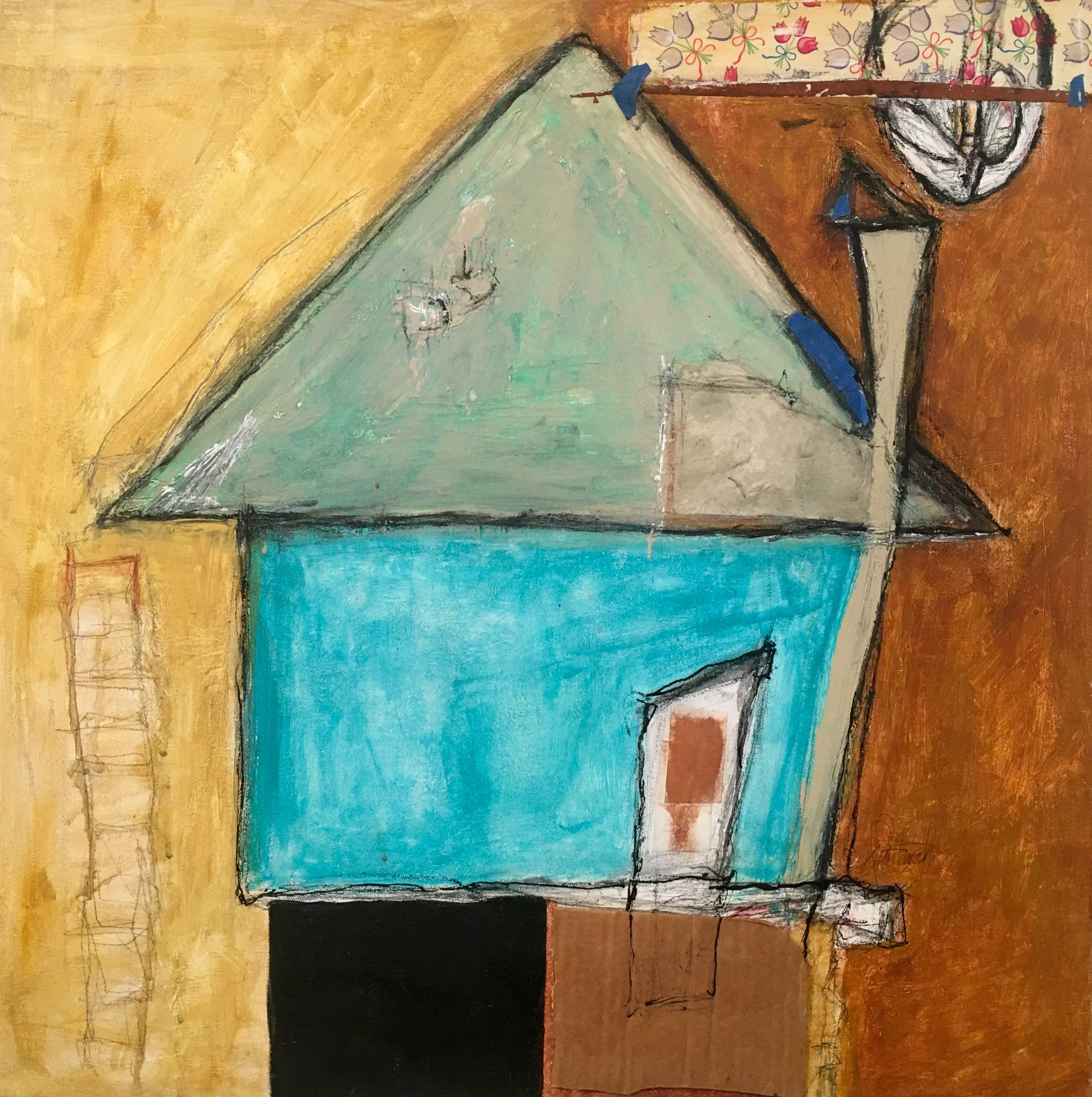 """House on Stilts , acrylic, latex, tar, pastel, pencil, cardboard, wallpaper, charcoal, rice paper, shellac on canvas, 24"""" x 24"""", $1,600"""