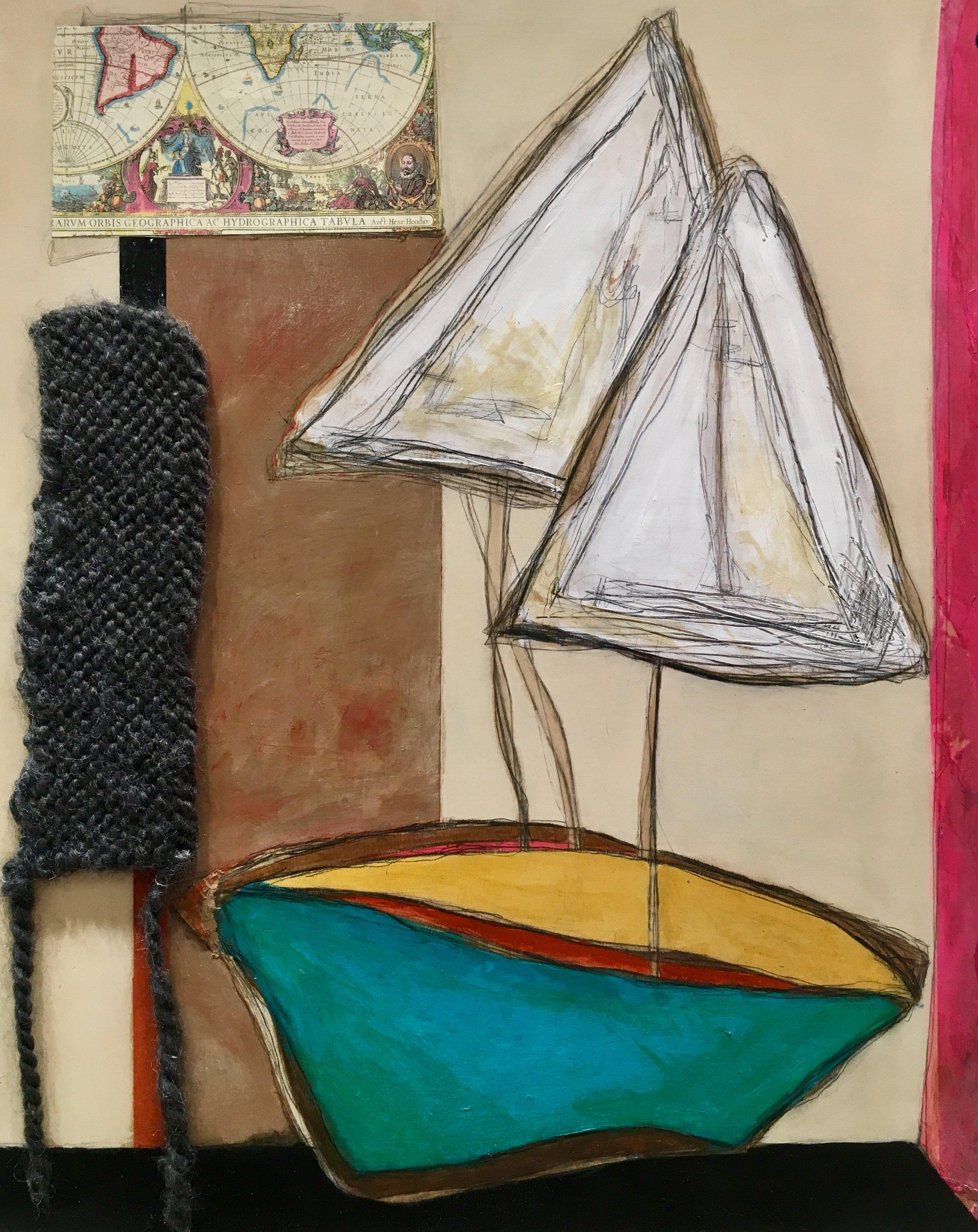 "Casting Nets , acrylic, oil, pencil, pastel, plastic, wallpaper, rice paper, cardboard, tape, tar, shellac, yarn on panel, 20"" x 16"""