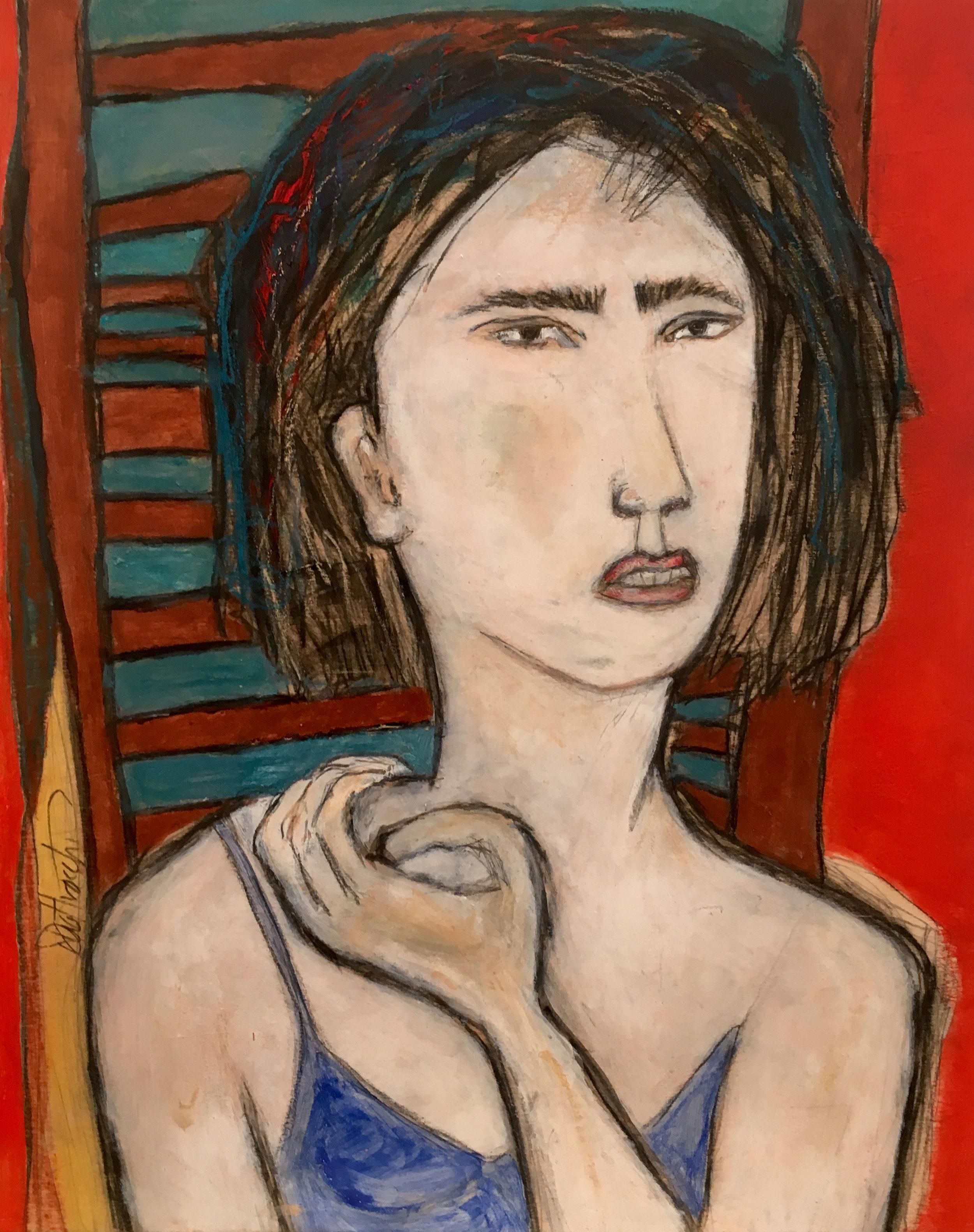 "Johanna , acrylic, pastel, pencil, charcoal on basswood panel, 10"" x 8"""