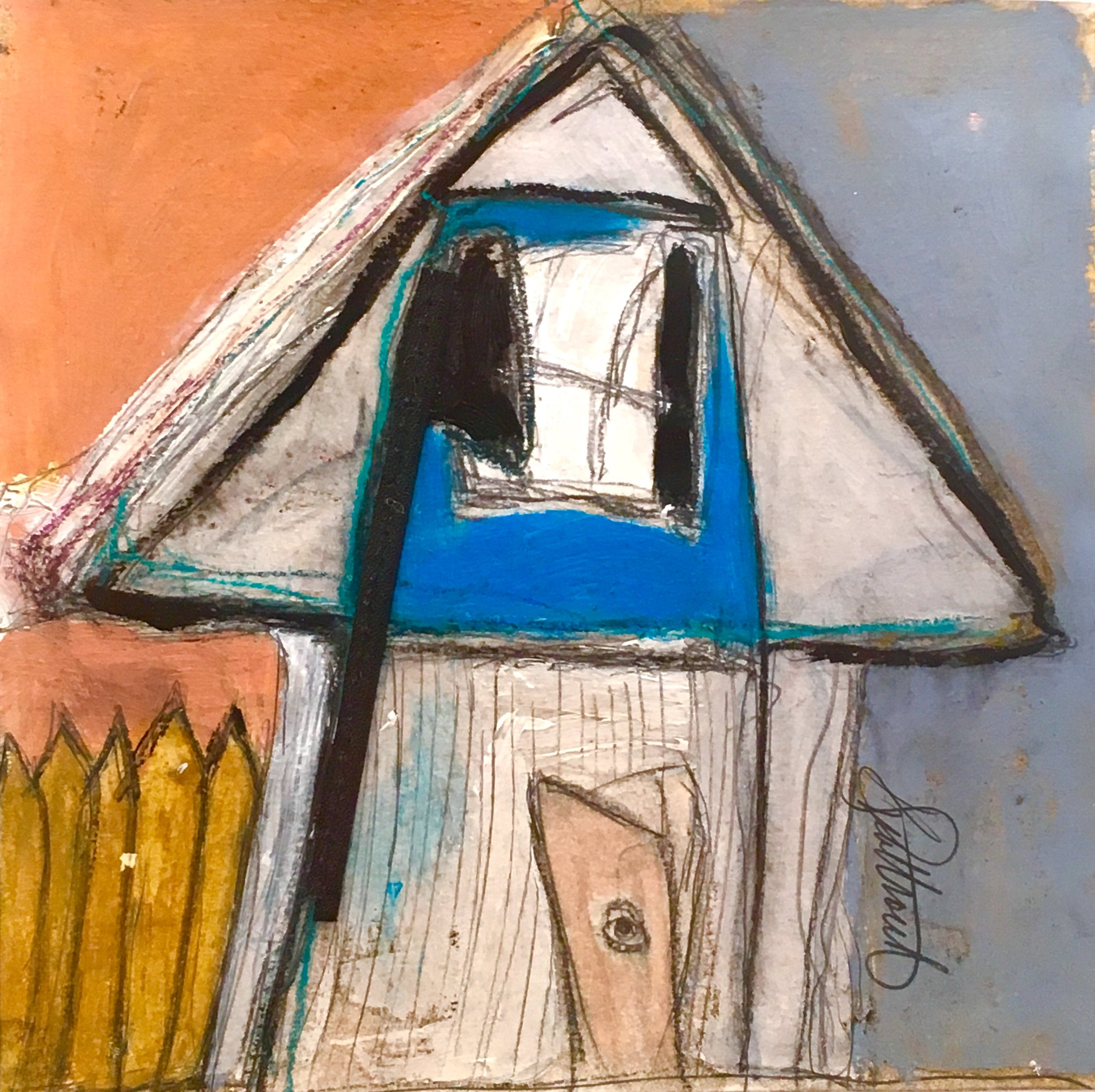 """House with Peephole , acrylic, oil stick,   pencil, crayon, tar, shellac, glue, plastic on paper, 15 1/2"""" x 15 1/2"""" framed"""