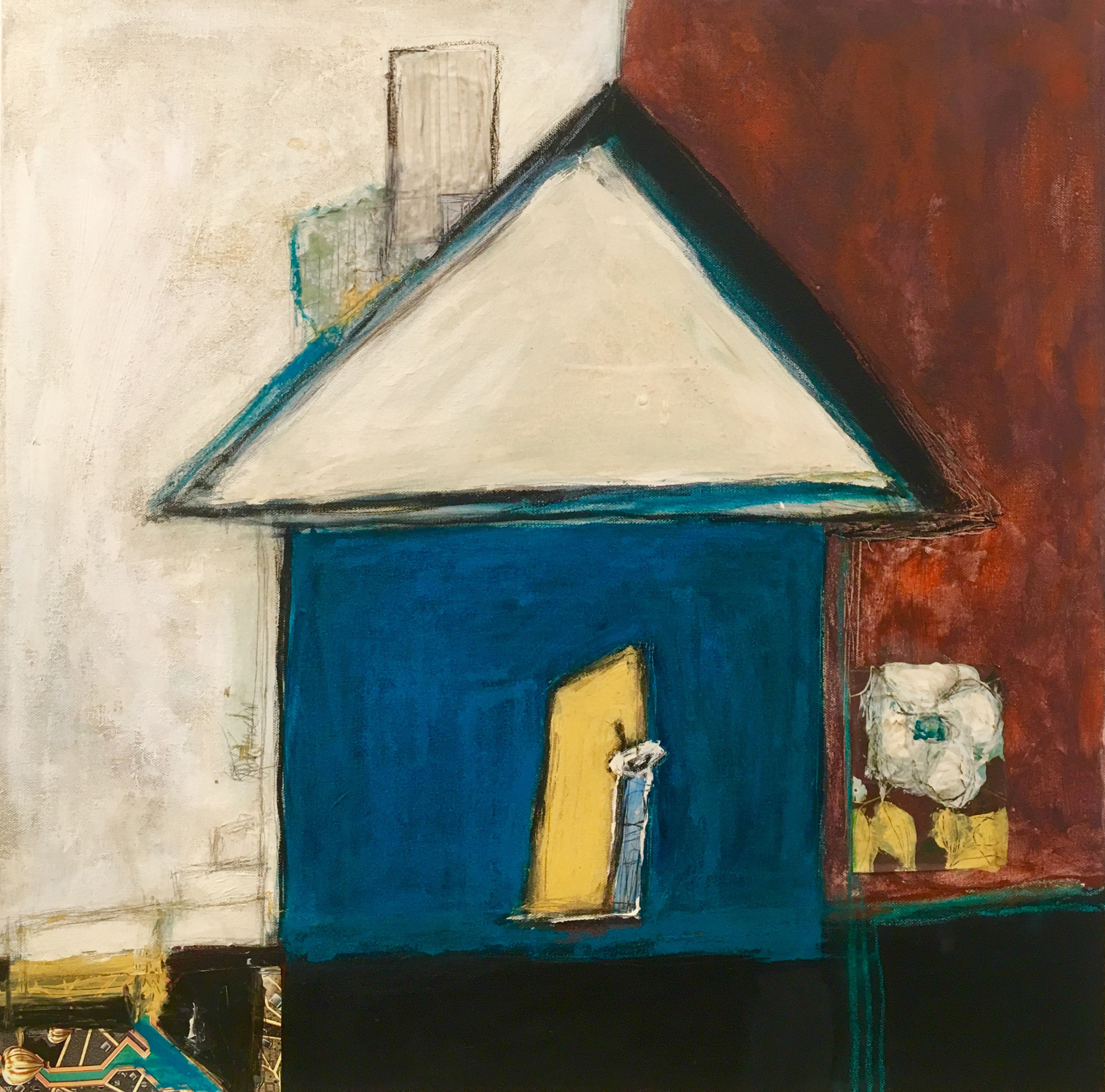 """Turquoise Playhouse , acrylic, oil, pencil, tar, pastel, linen tape, wallpaper, found paper, shellac on canvas, 24"""" x 24"""", sold"""