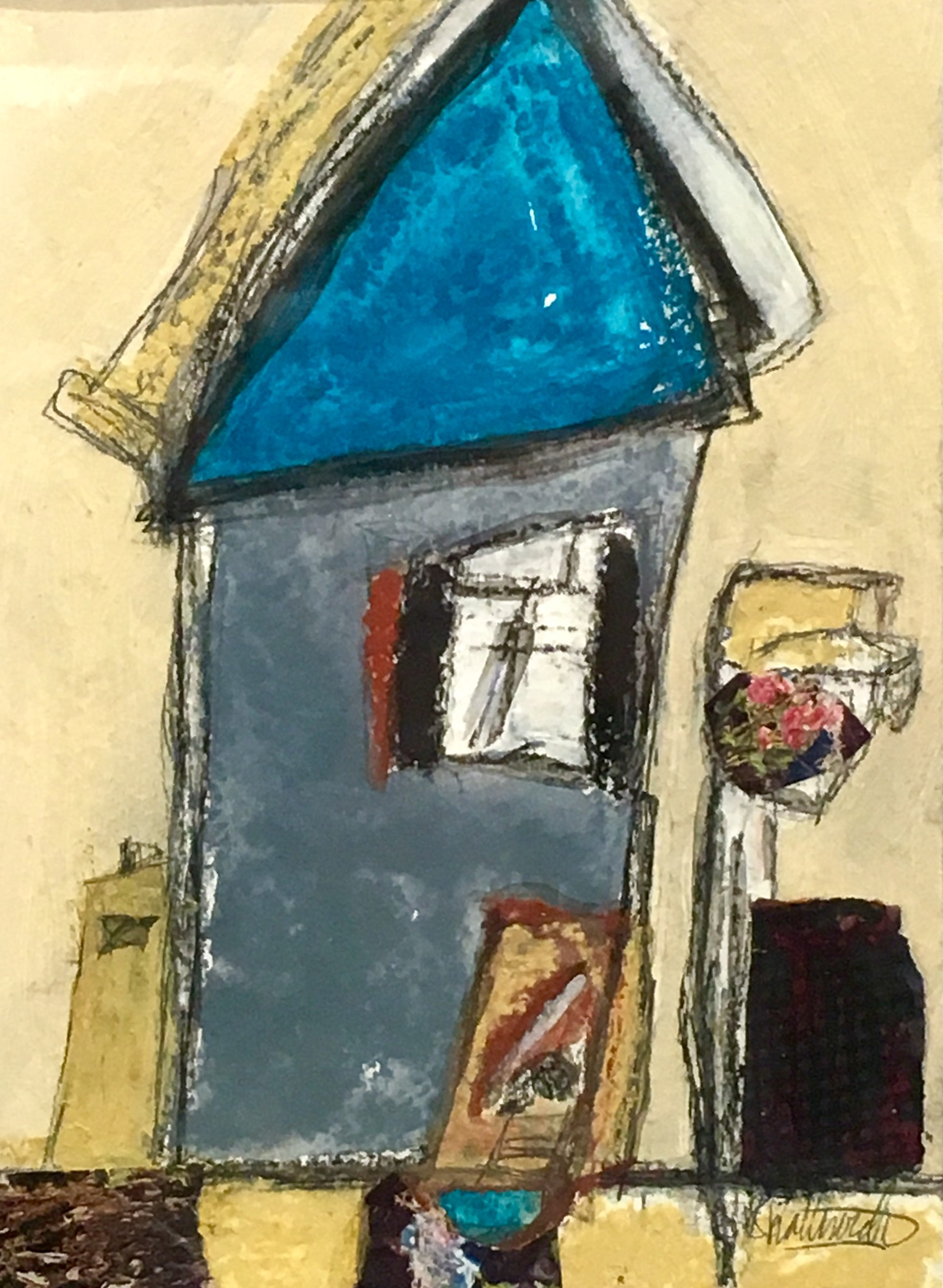 """House with Hanging Garden , acrylic. pencil,   crayon, pastel, tar, found paper. shellac on paper, 12 1/2"""" x 10 1/2"""" framed, $375"""