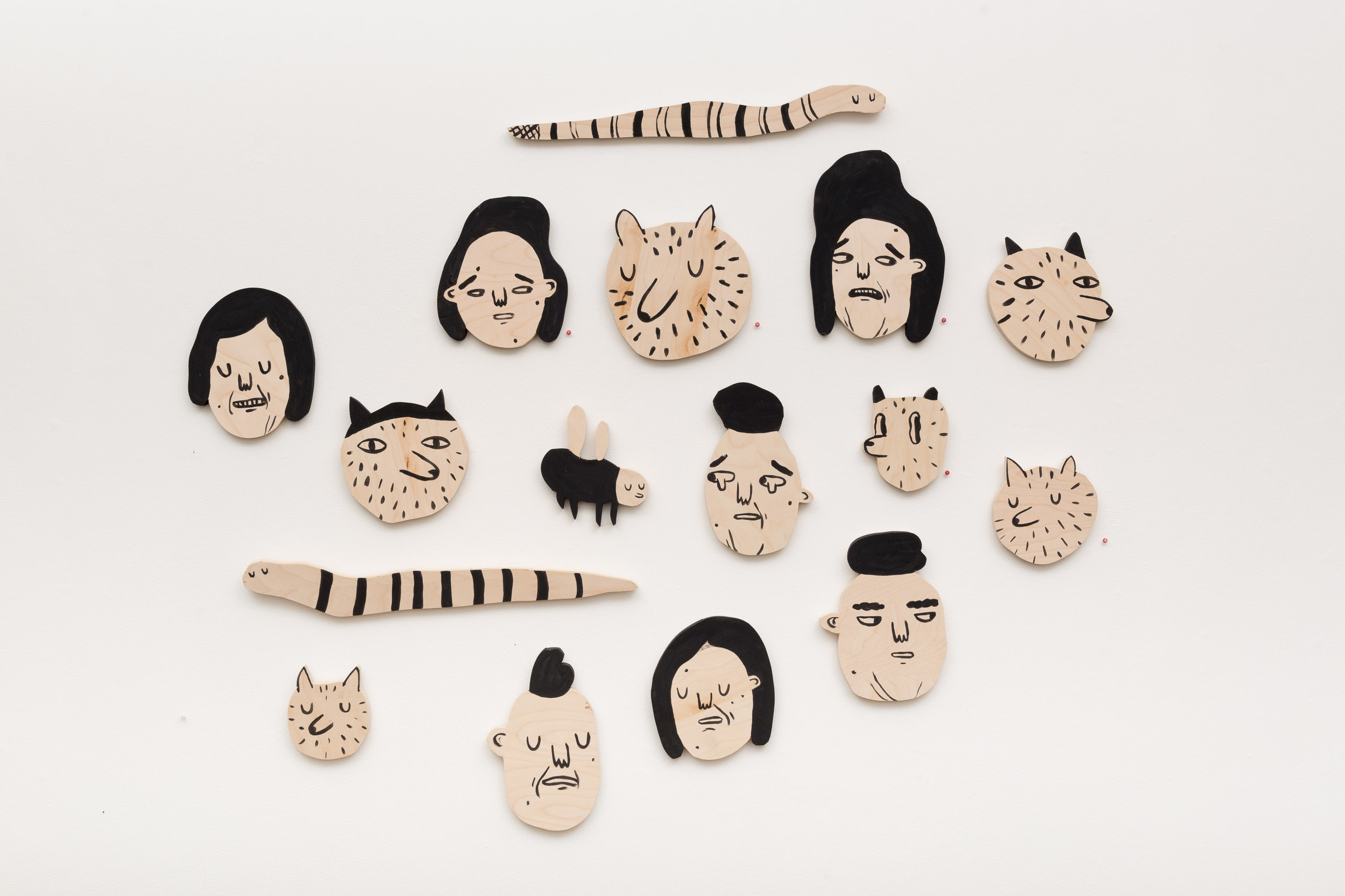 Caitlin Duennebier ,  Even the Bugs and Animals are Sad , milk paint on wood, various sizes, $75 each, $950 for set of 14