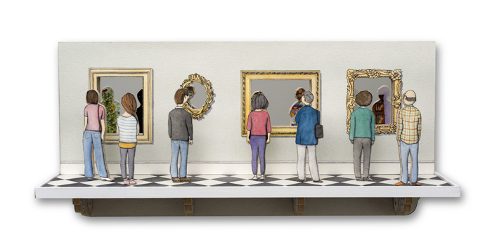 """Mark Luiggi ,  Gallery , watercolor, pen and ink on paper, mirrors, mounted on wood,  7"""" x 15"""" x 3 1/2"""", $850"""