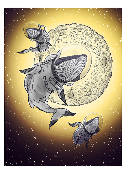 Astro Whales , pen and ink with digital colorization on archival paper with remarque