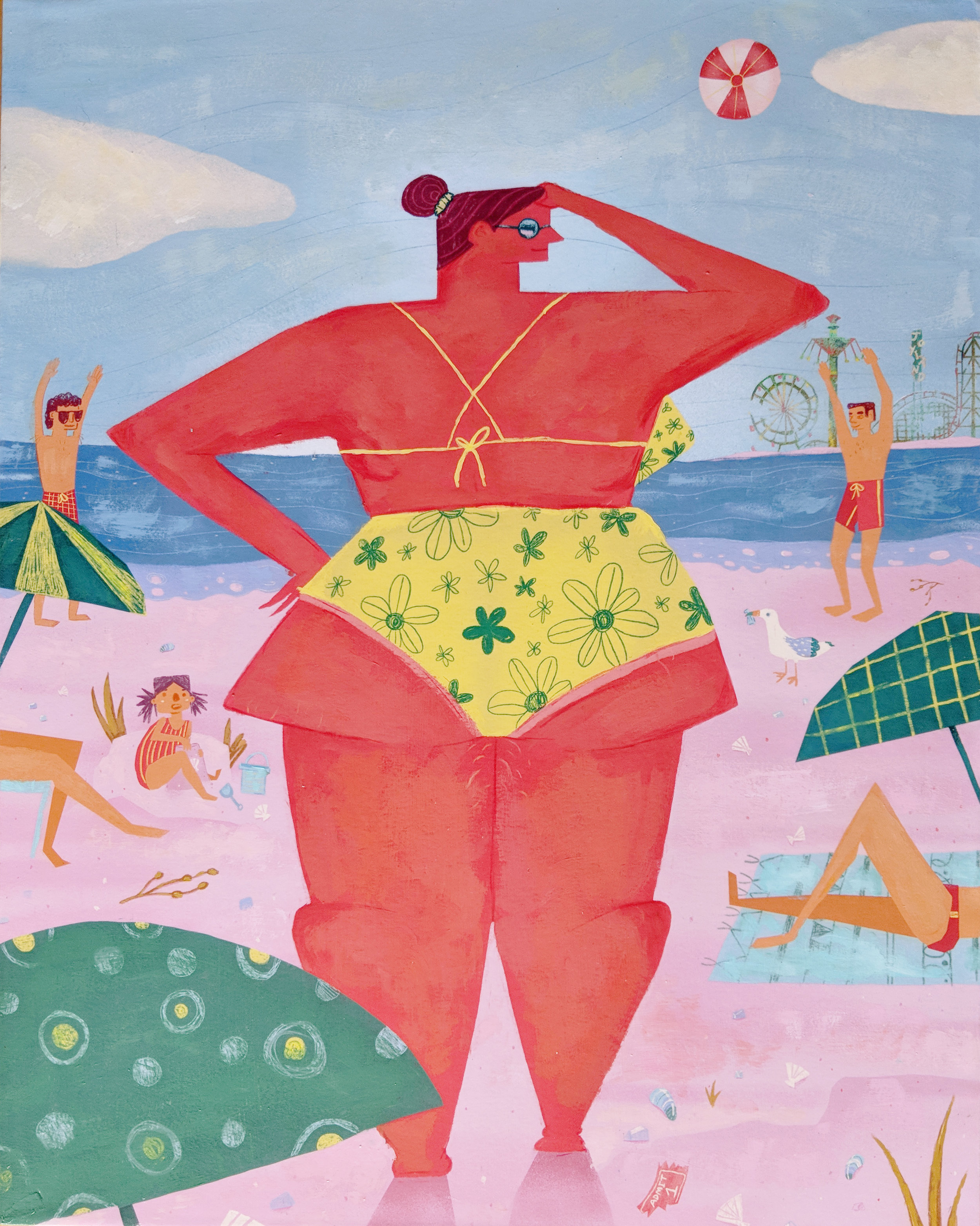 """Beach Junk , acrylic and colored pencil on archival inkjet print, mounted on wood, 20"""" x 16"""", $750"""