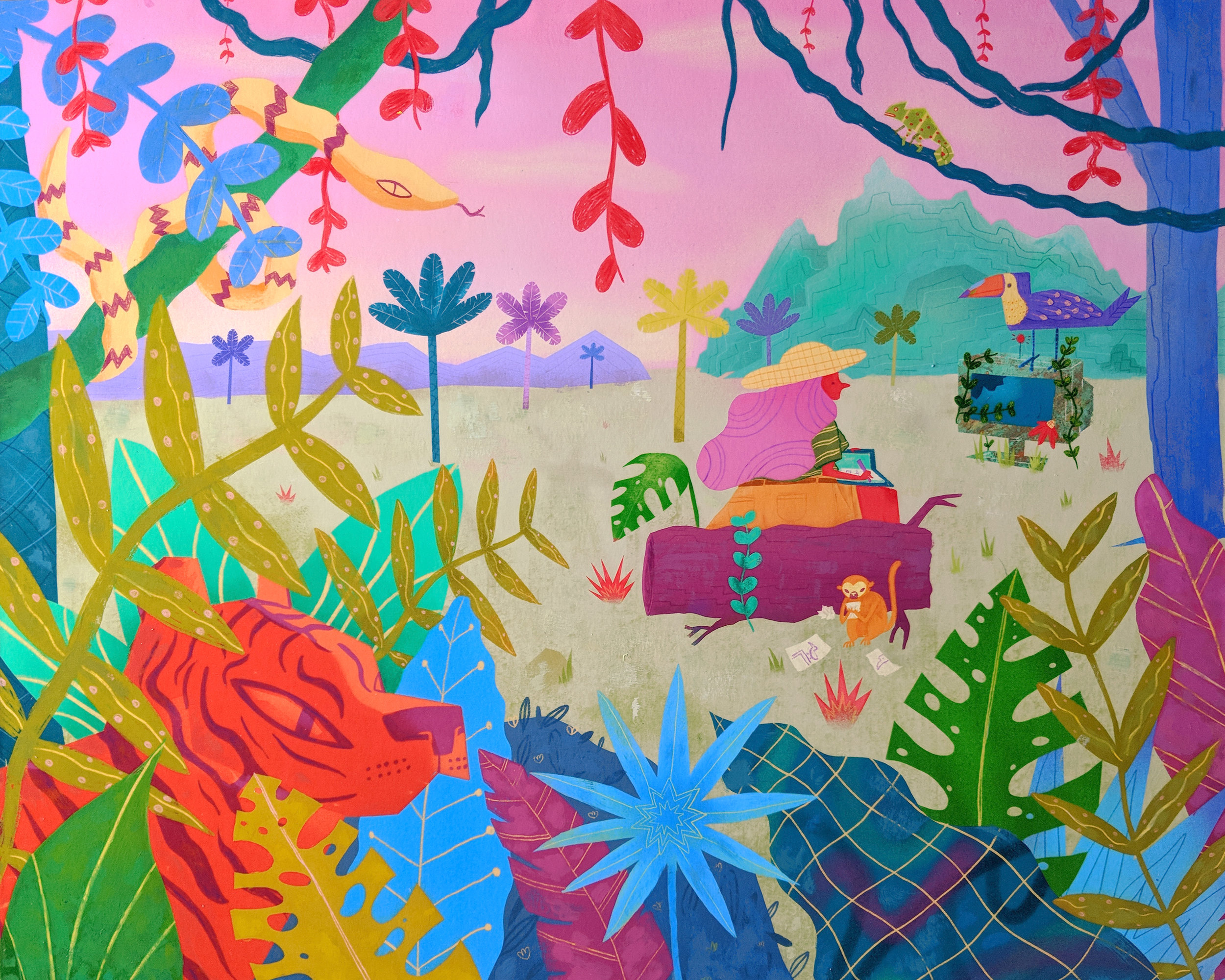 """Jungle Junk , acrylic and colored pencil on archival inkjet print, mounted on wood, 16"""" x 20"""", $750"""