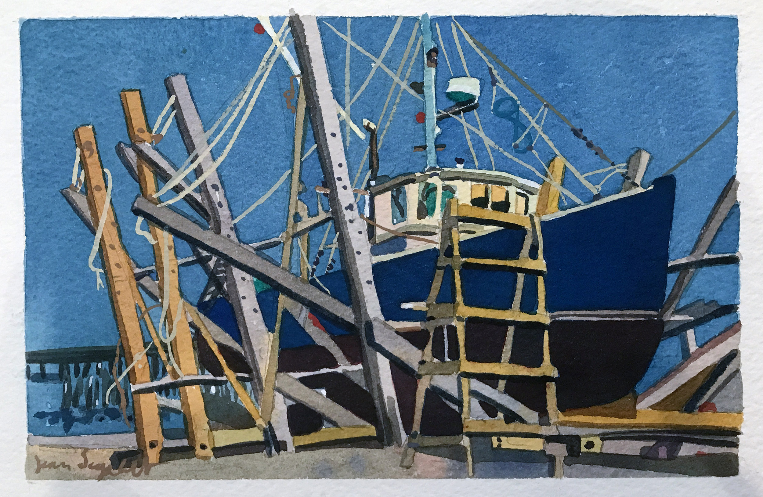 """Painting the Hull Blue, Provincetown Boatyard , watercolor on paper, 13 1/2"""" x 15 1/2"""", $600"""