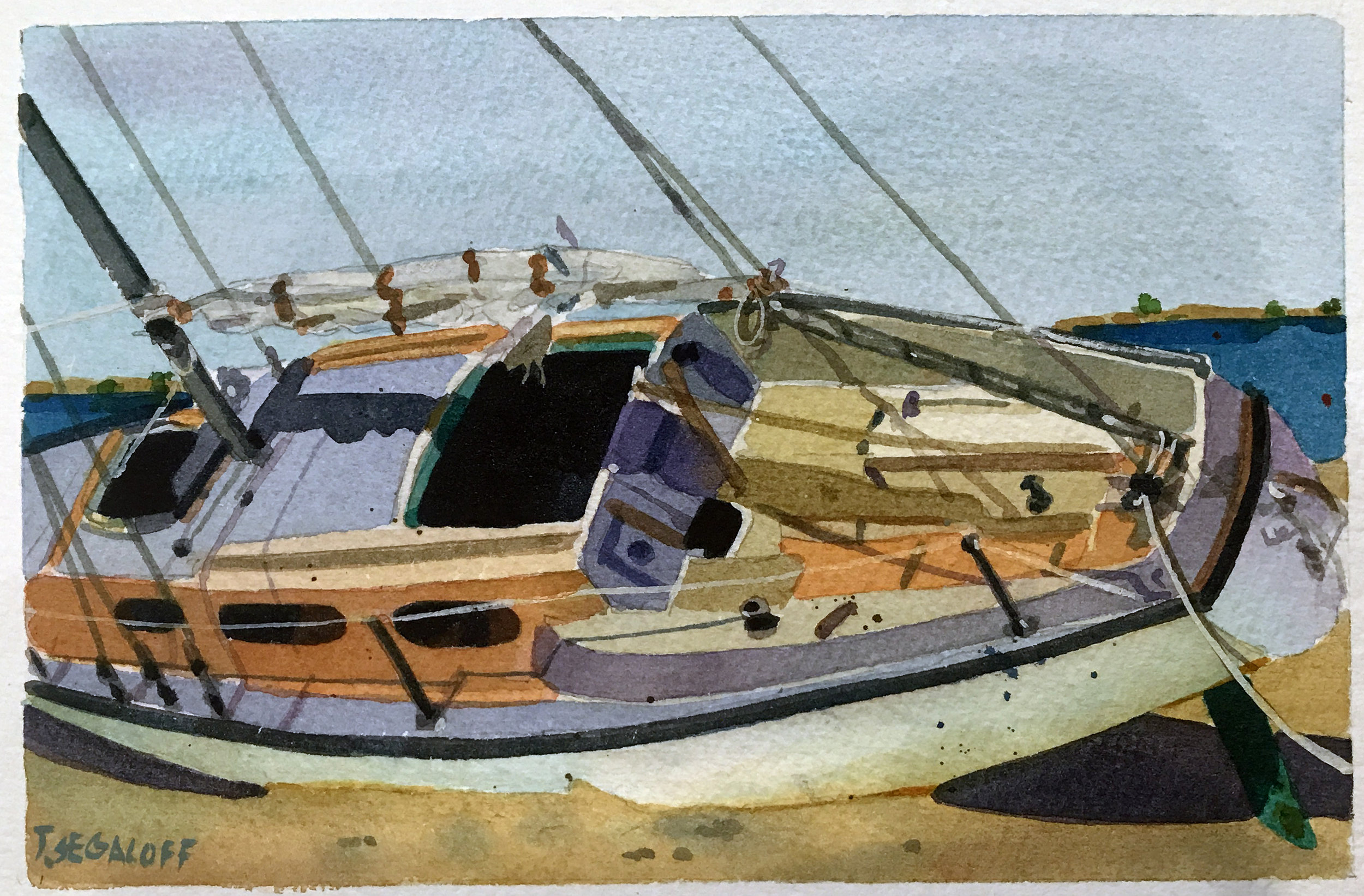 """Sailboat Aground, Provincetown,  watercolor on paper, 13 1/2"""" x 15 1/2"""", $600"""