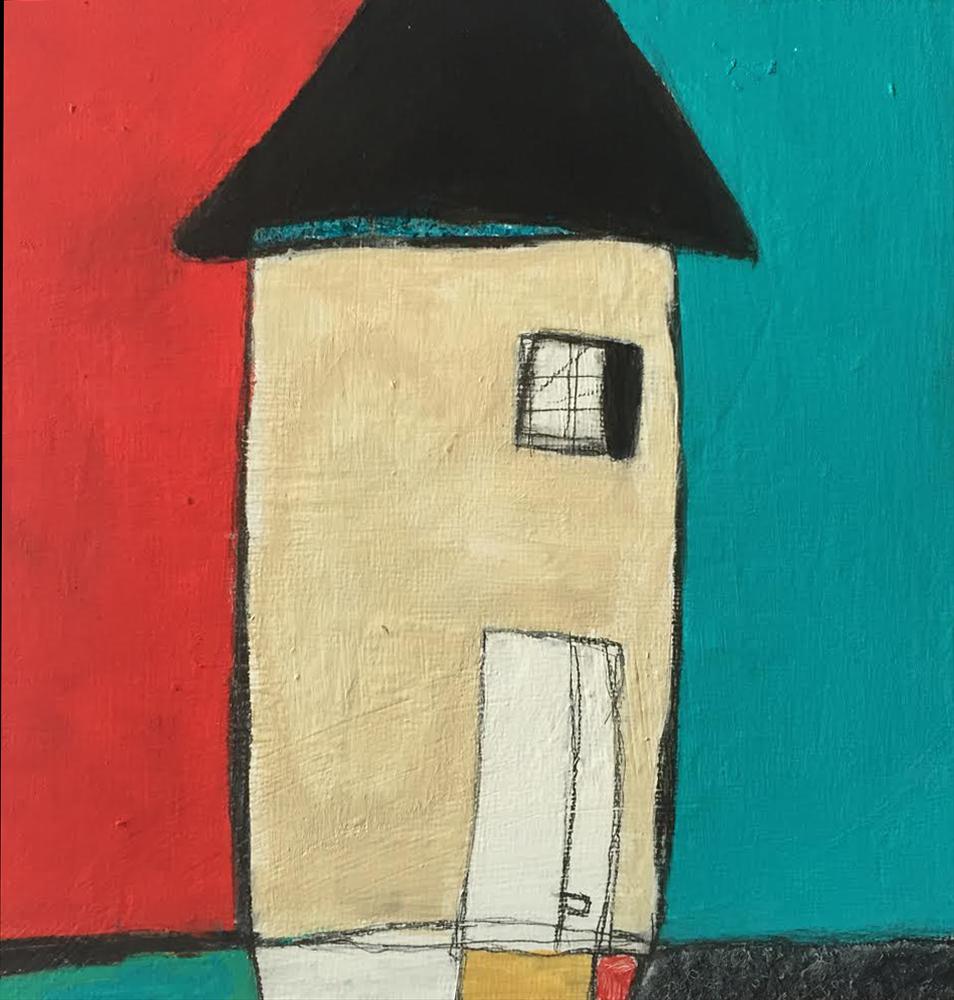 """Beach House , oil, acrylic, pencil, pastel, crayon, felt, tar, shellac on wood, 6"""" x 6"""", $275"""