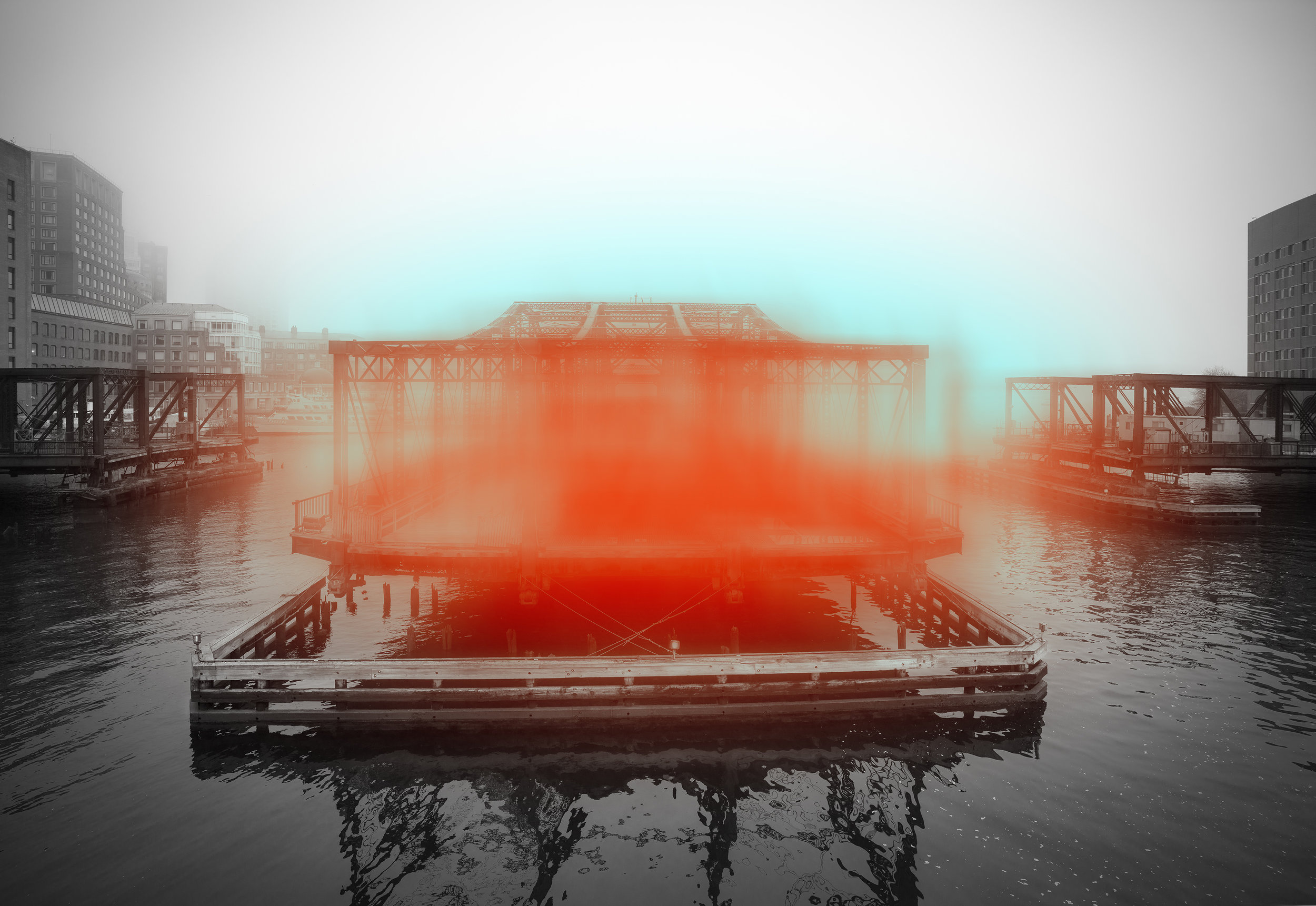"Jeffrey Heyne ,  Bridge with Orange and Phthalo Blue, 8:24am,  digital photograph on plexiglass, 30"" x 45"", $3,400"