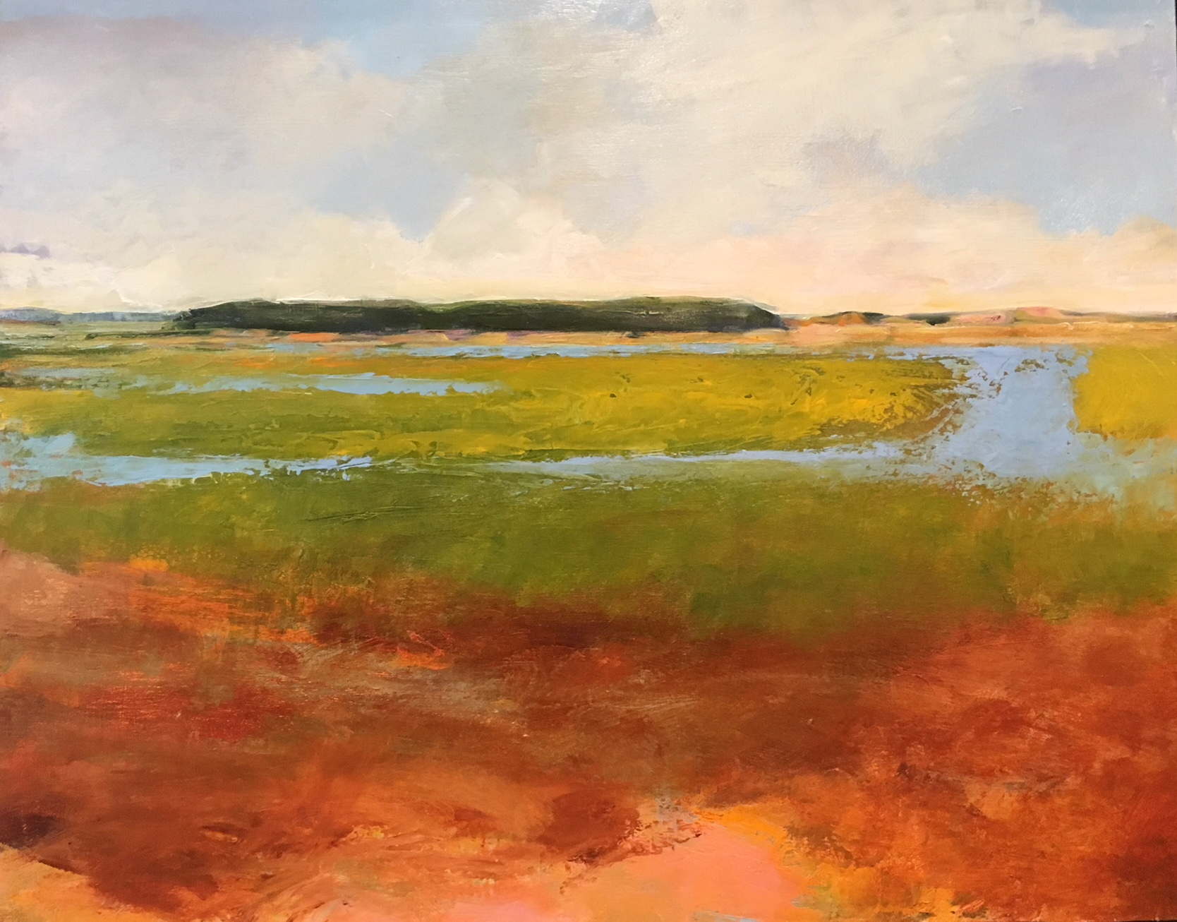 "Heather Pilchard ,  Flooded Marsh,  oil on board, 21 1/4"" x 26 1/2"" framed, $1,600"