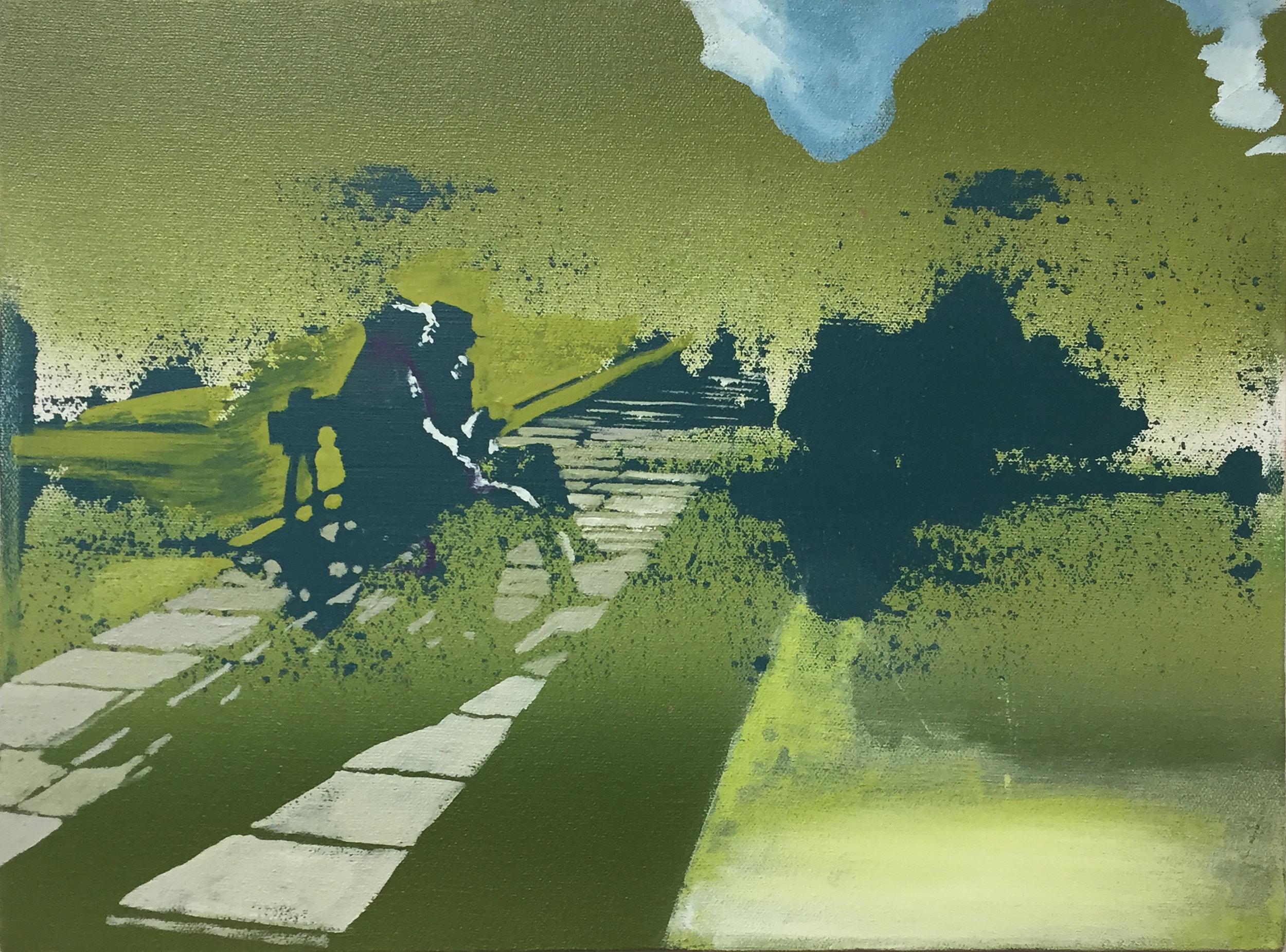 "Park Bench,  oil on canvas, 12"" x 16"""