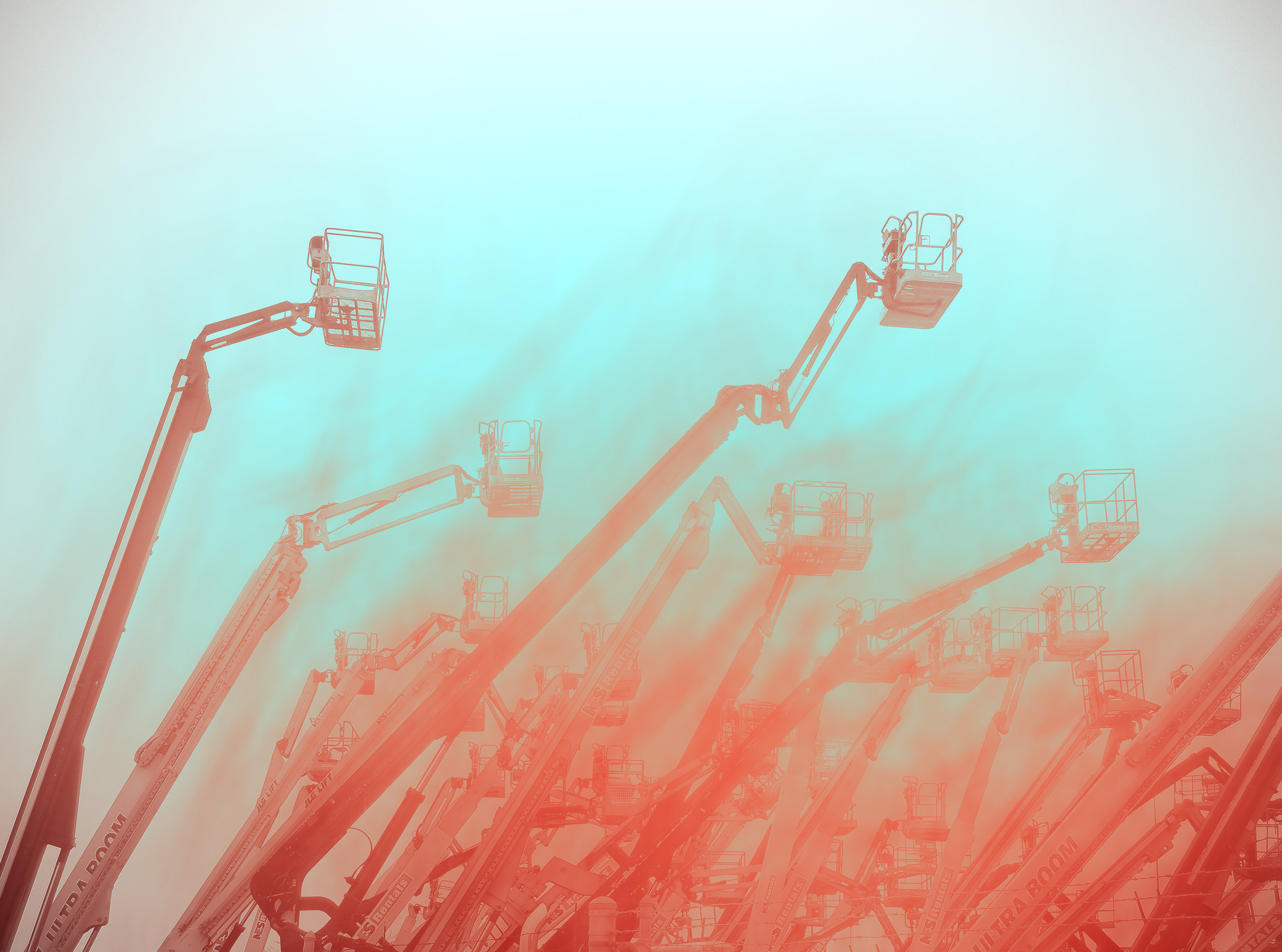 "Cranes with Vermillion and Phthalo Blue 6:31pm , digital photograph, 13"" x 19"", $225"